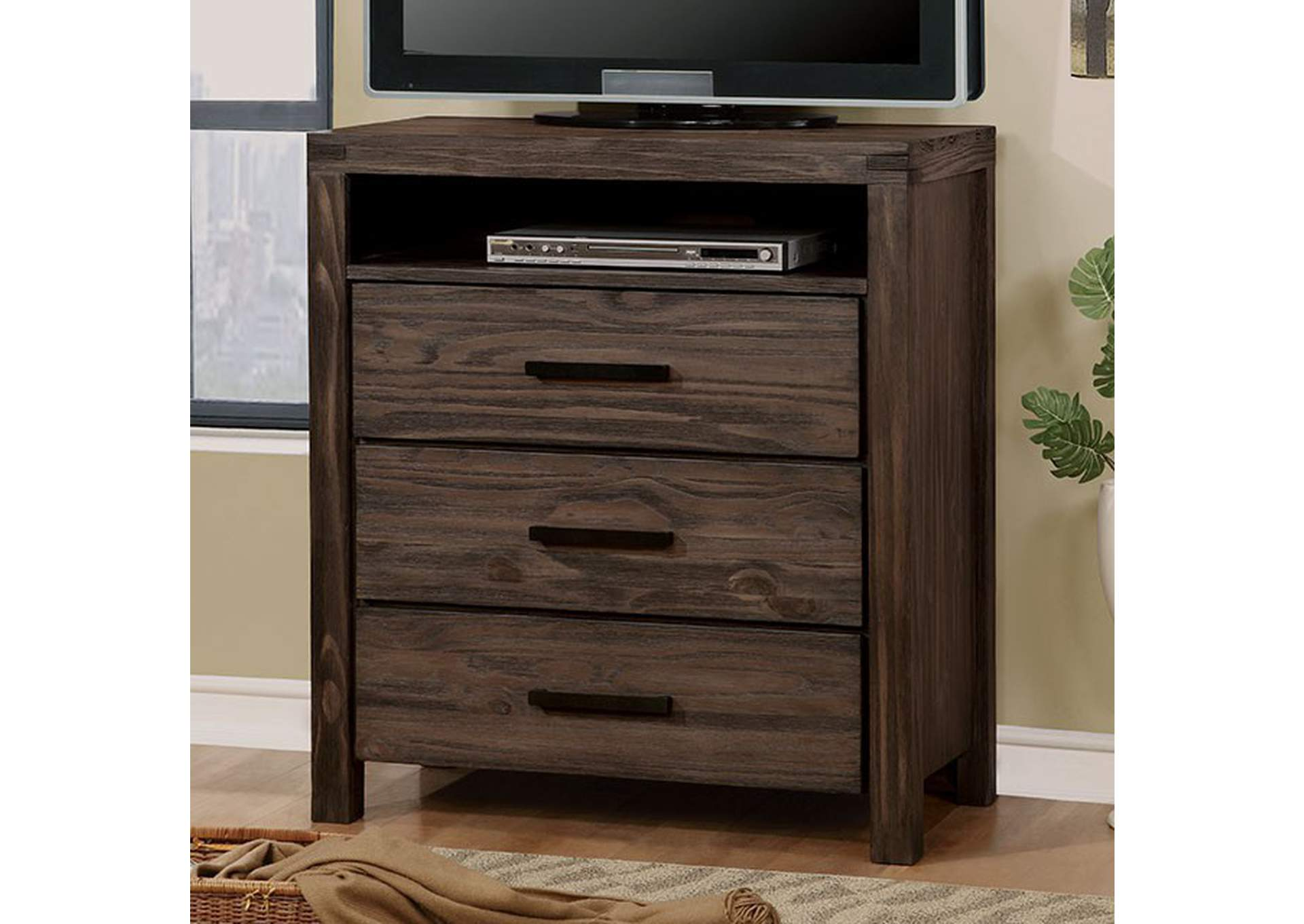 Rexburg Dark Gray Wire-Brushed Media Chest,Furniture of America
