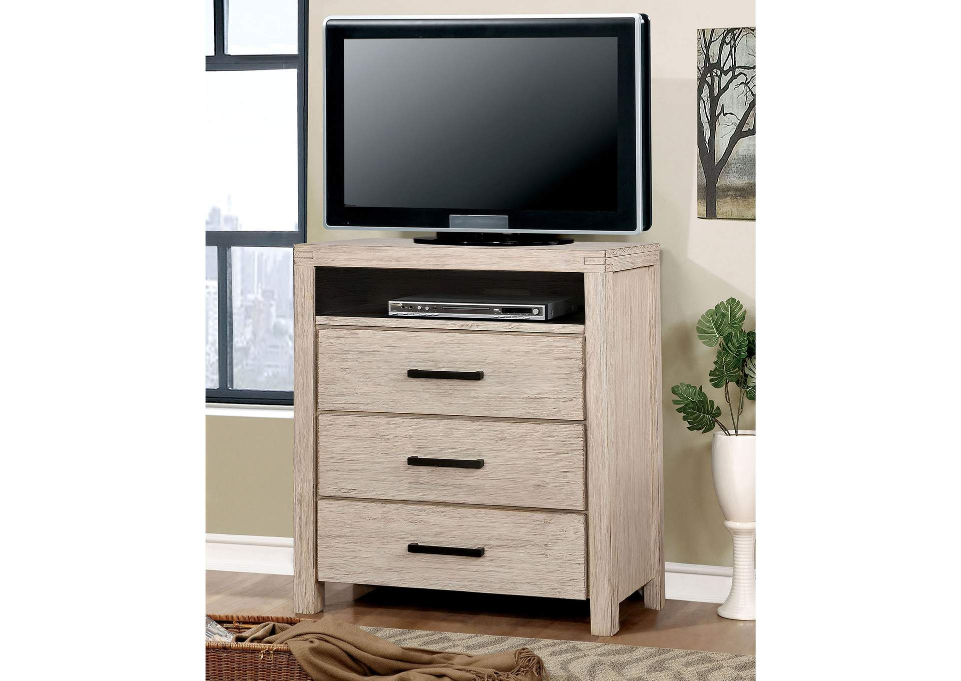 Strasburg Wire-Brushed White Media Chest,Furniture of America