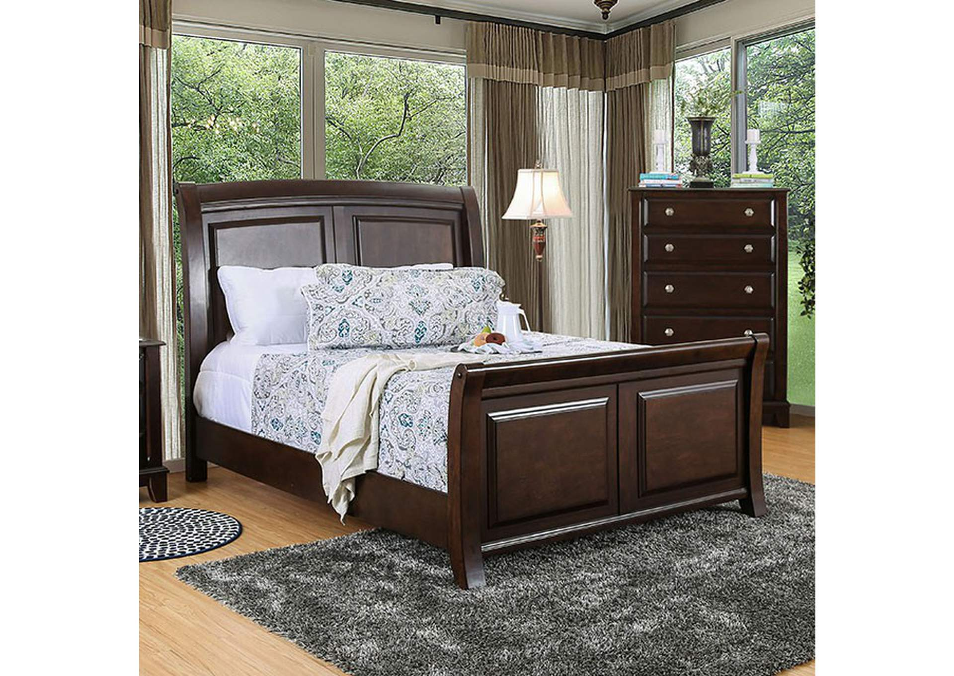 Litchville Brown Cherry Eastern King Bed Best Buy Furniture And Mattress