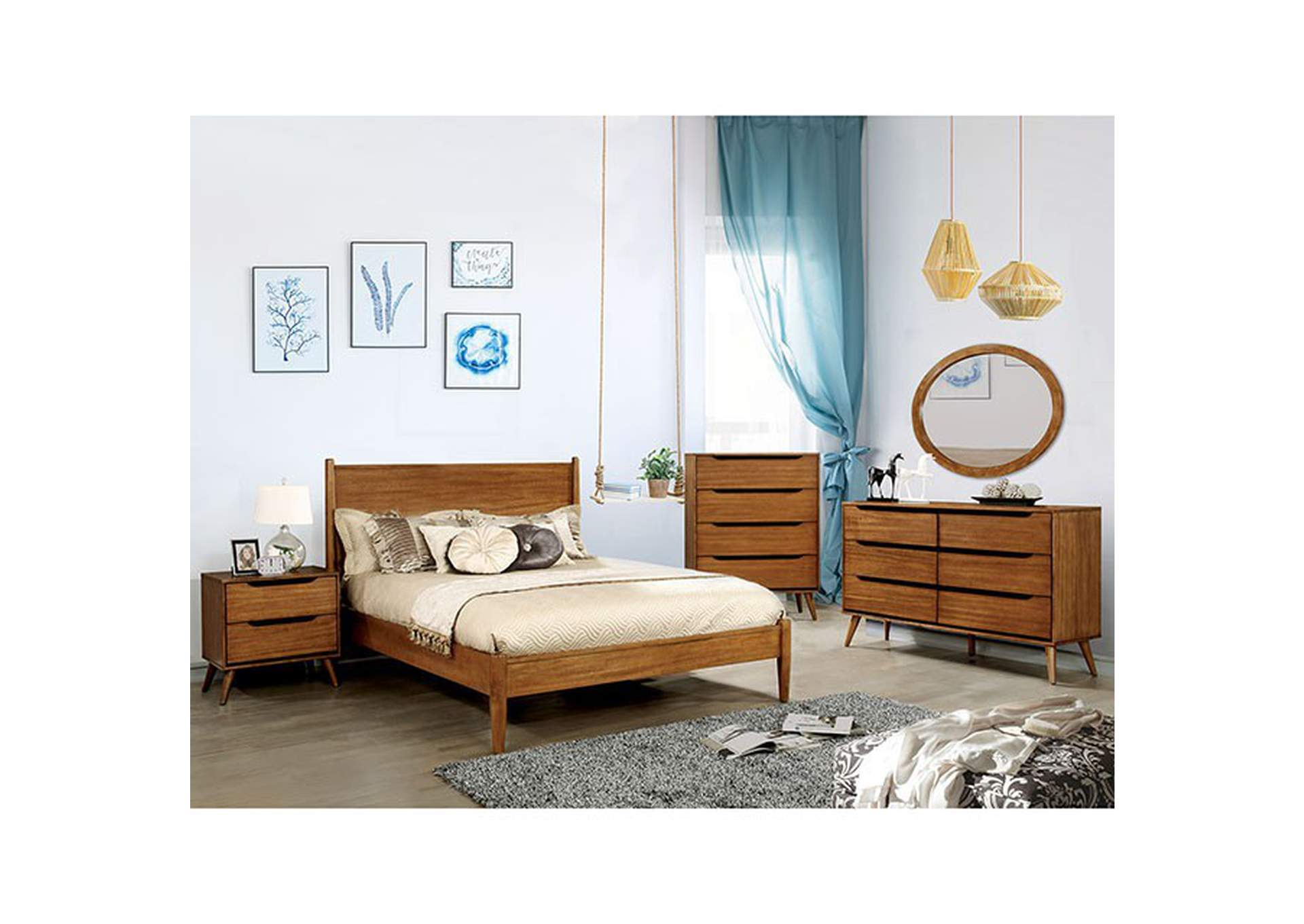 Lennart Oak Queen Platform Bed,Furniture of America