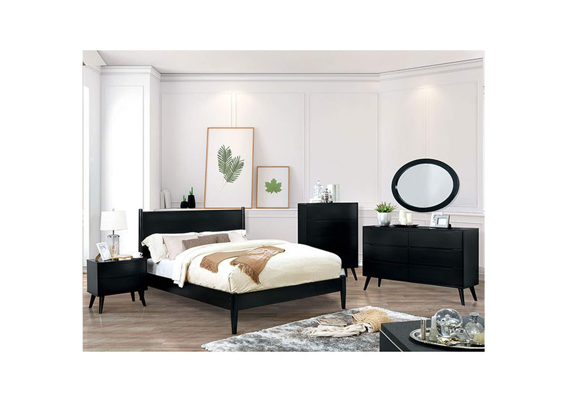 Lennart Black Queen Bed,Furniture of America