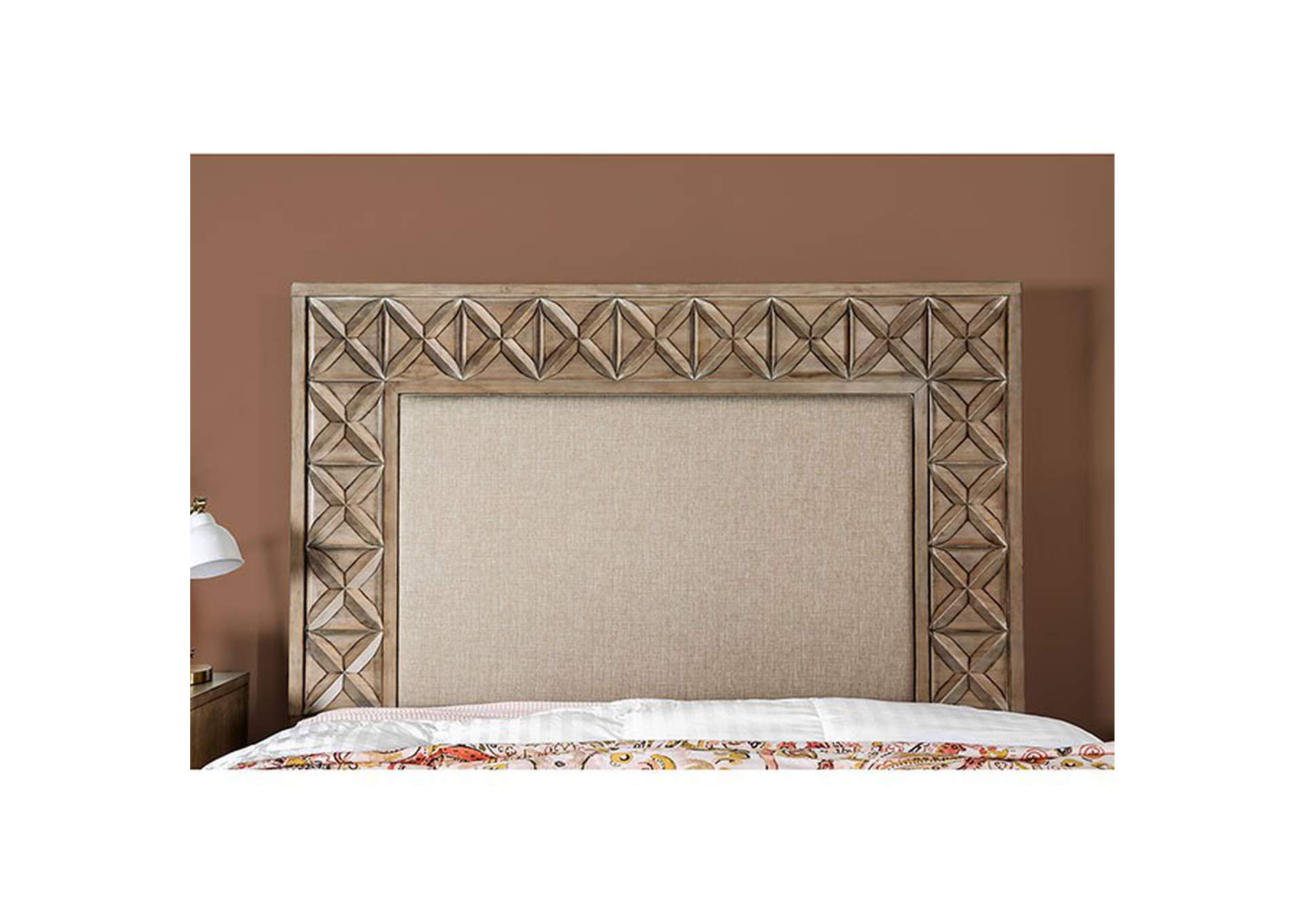 Markos Weathered Light Oak Eastern King Bed,Furniture of America