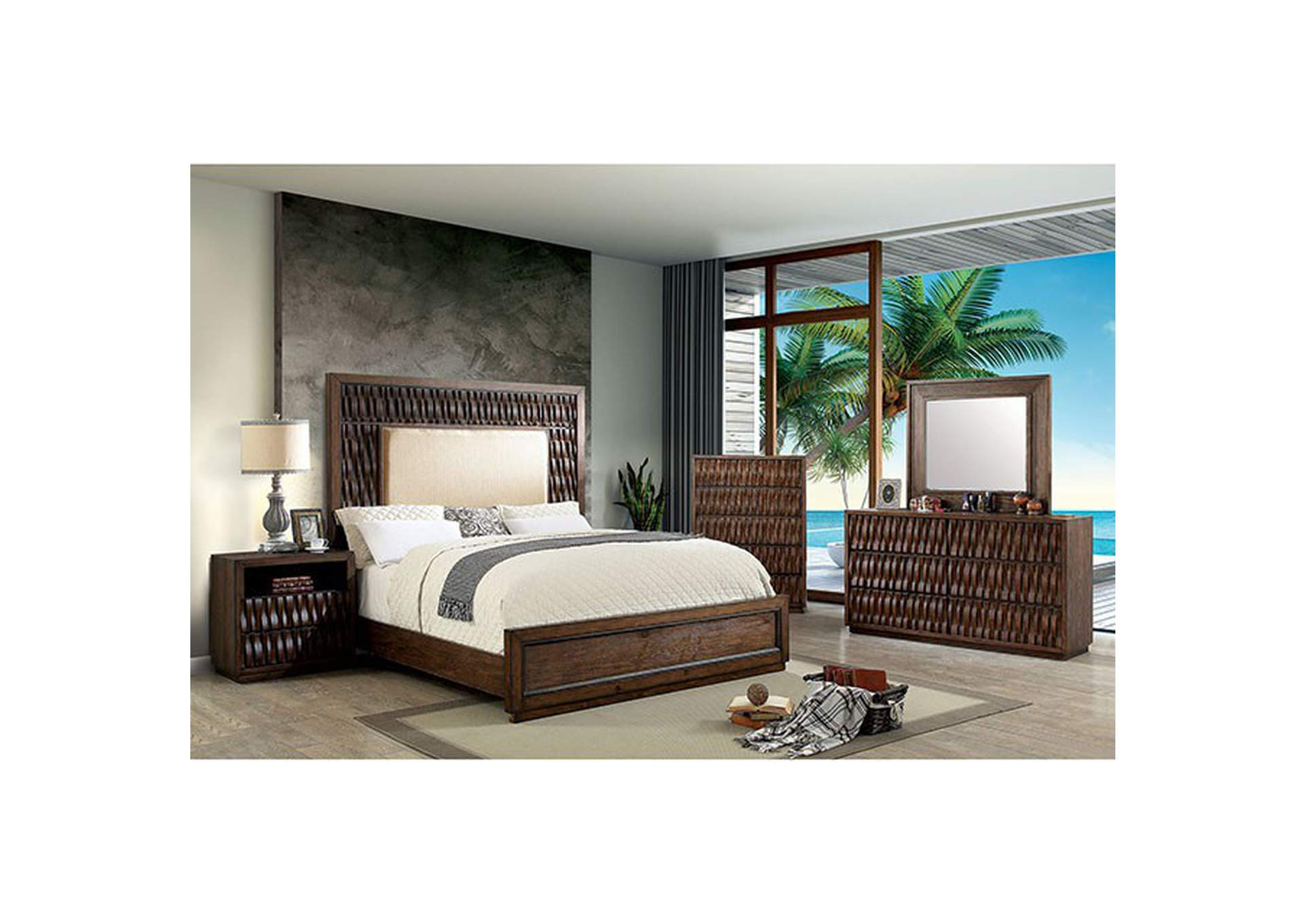 Eutropia Warm Chestnut Queen Platform Bed w/Upholstered HB,Furniture of America
