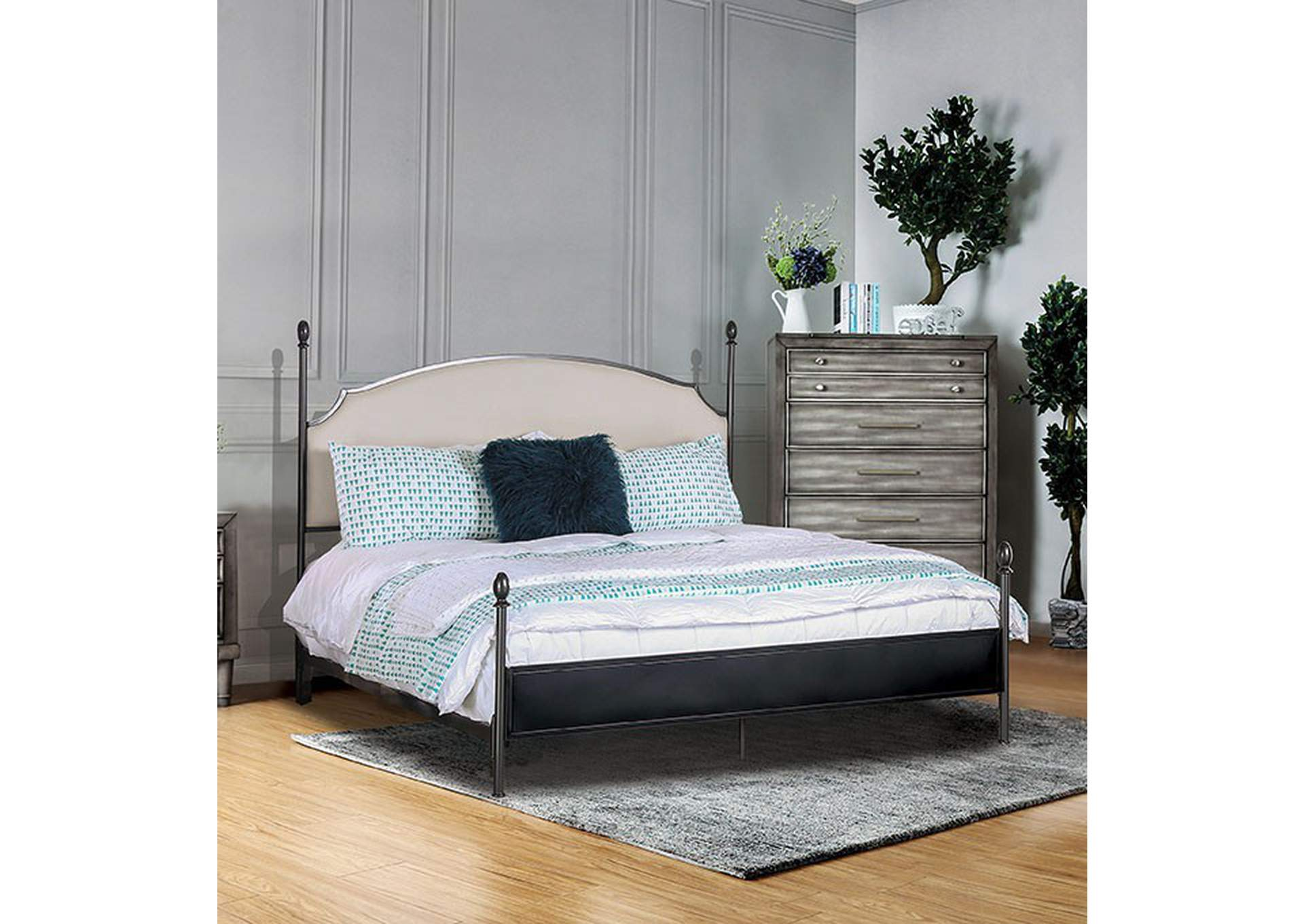 Sinead Gun Metal California King Upholstered Poster Bed Dan S Furniture