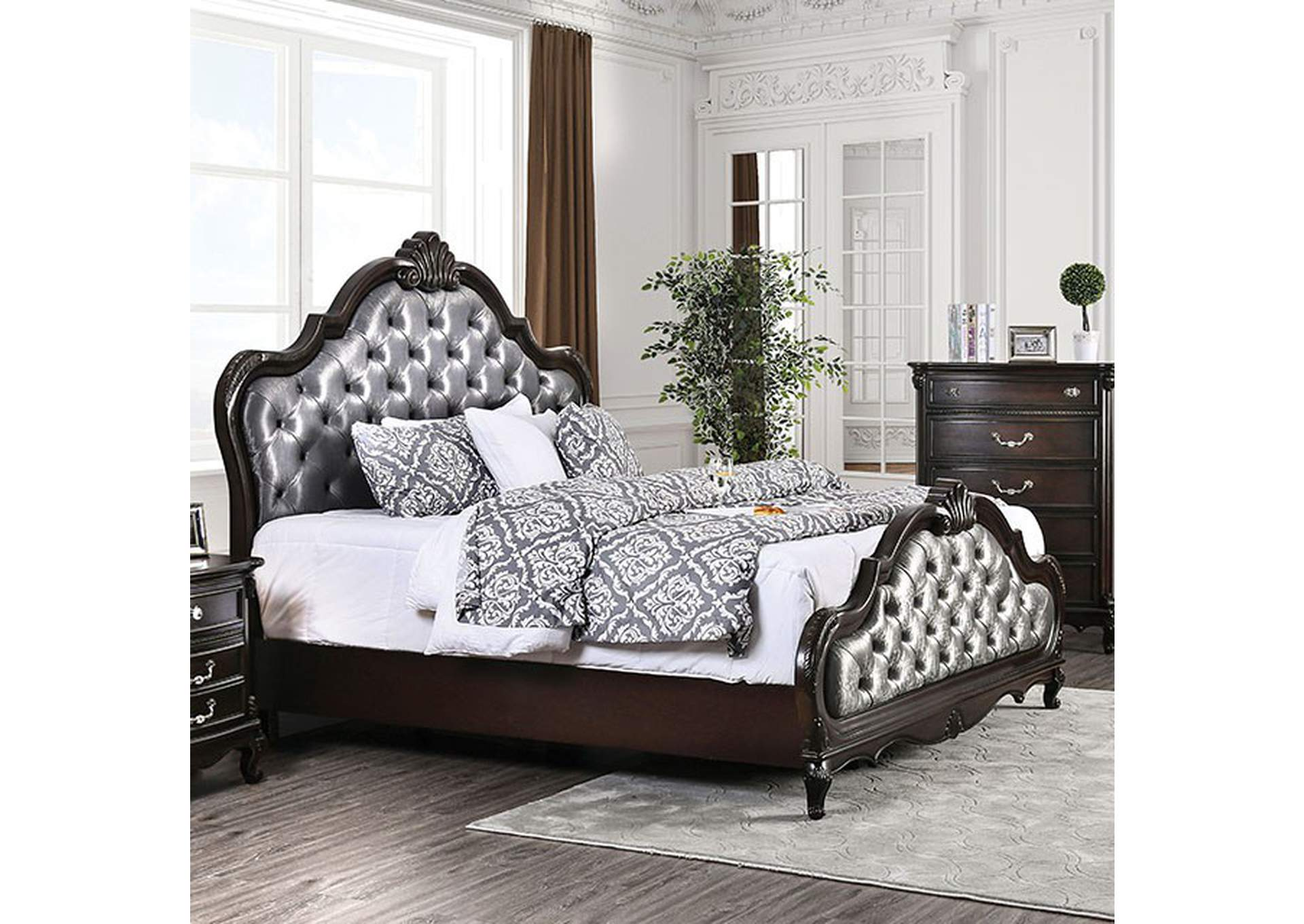 Bethesda Espresso Upholstered Queen Panel Bed,Furniture of America