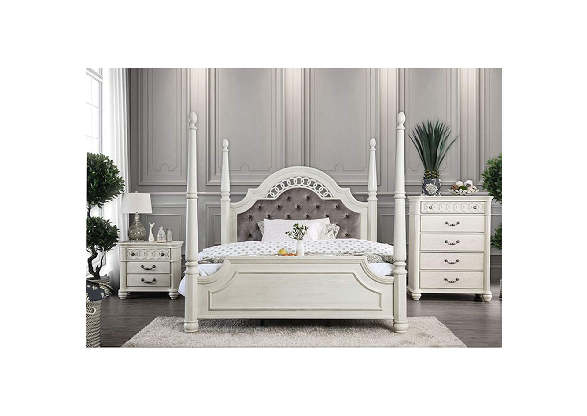 Fantasia White Upholstered Queen Poster Panel Bed,Furniture of America