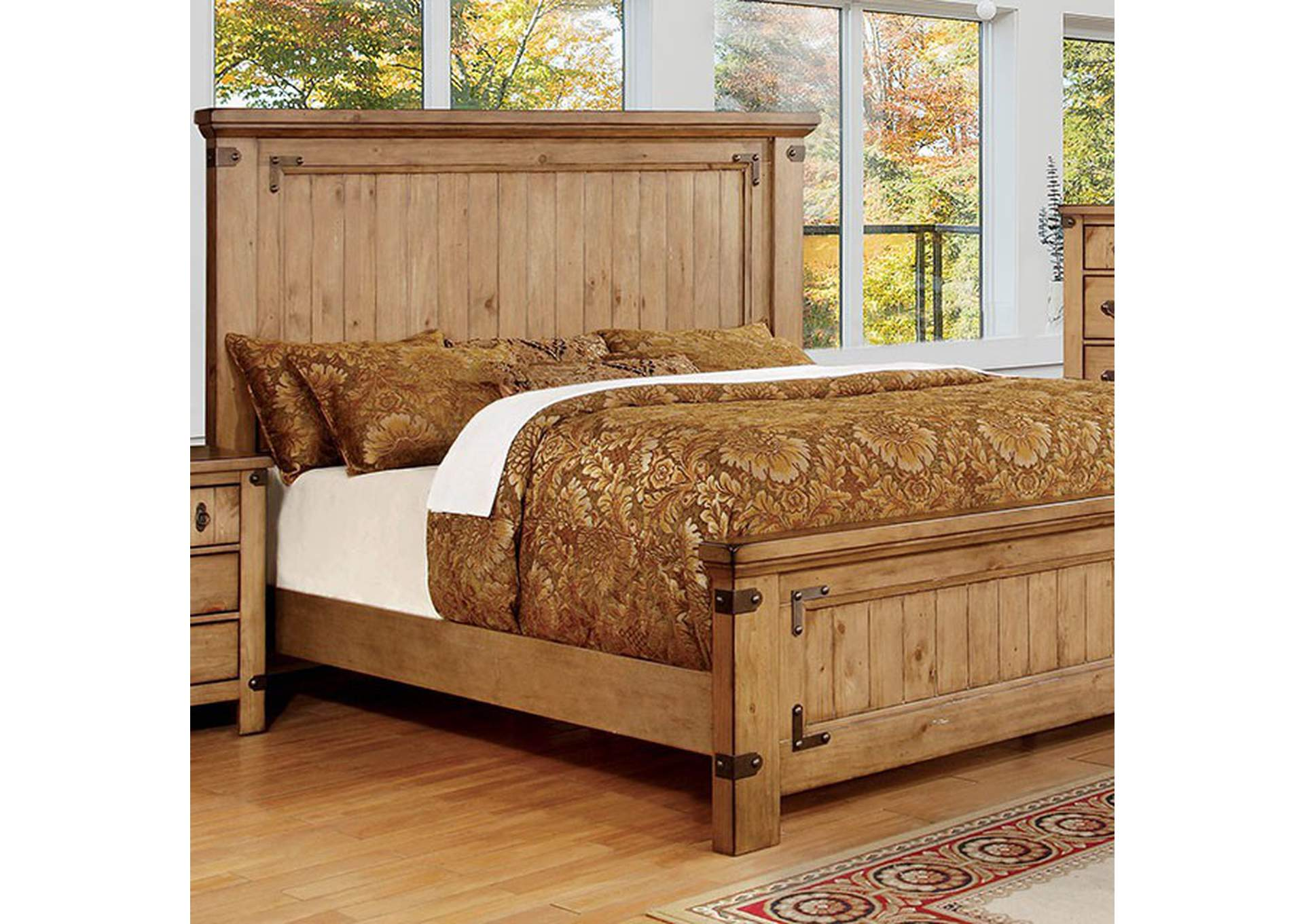 Pioneer Weathered Elm Queen Bed,Furniture of America