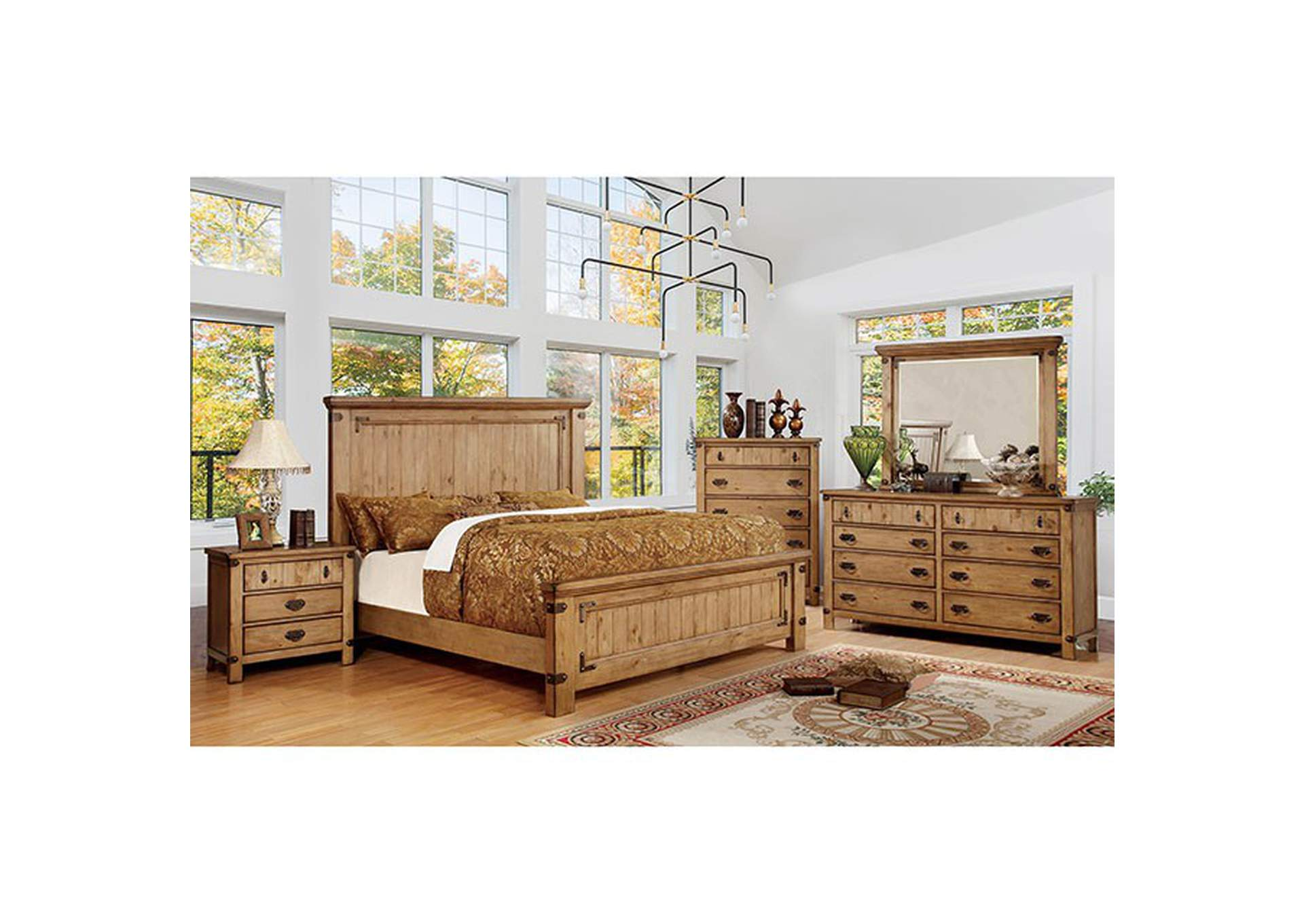Pioneer Weathered Elm Queen Platform Bed,Furniture of America