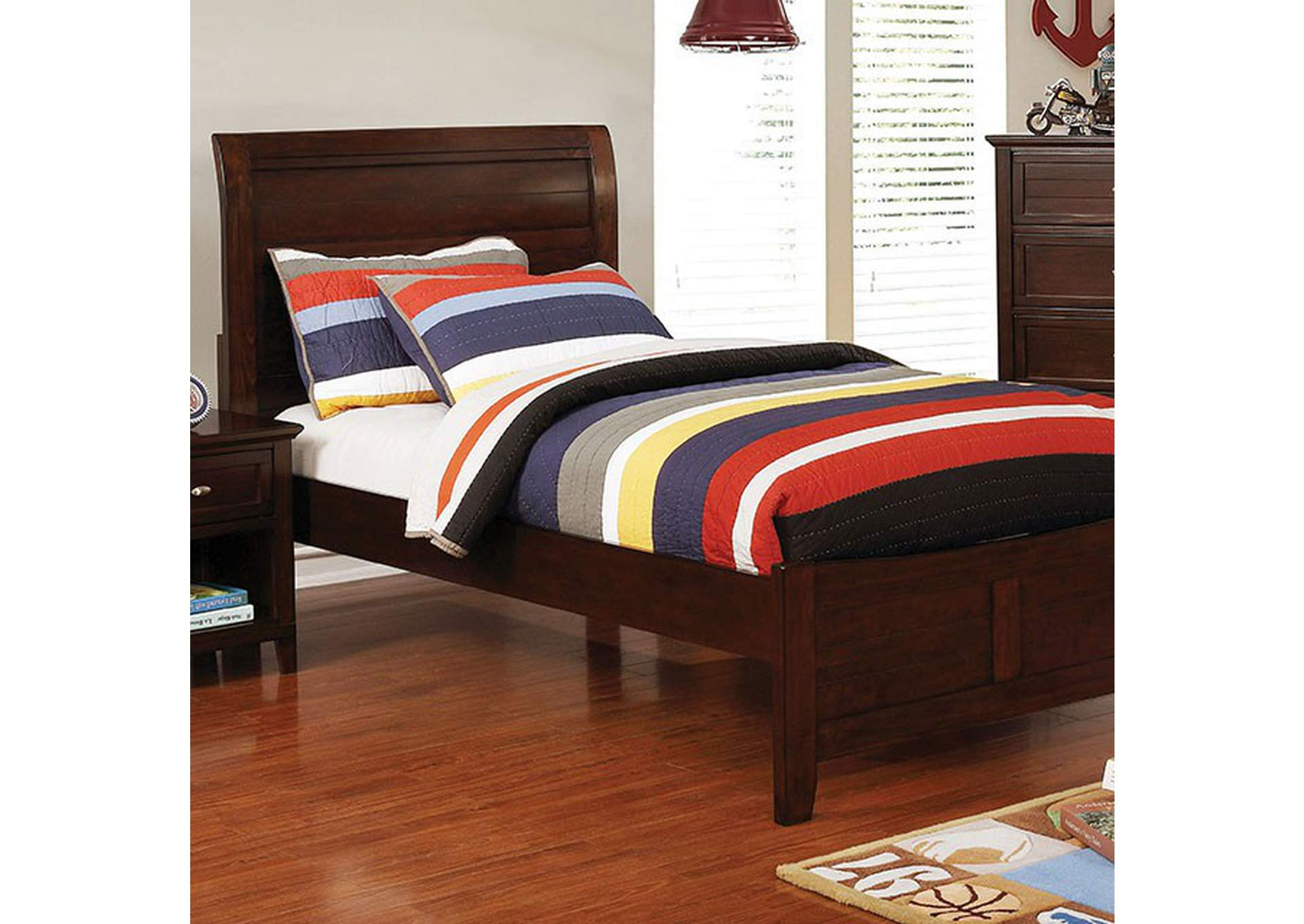 Brogan Brown Twin Sleigh Bed,Furniture of America