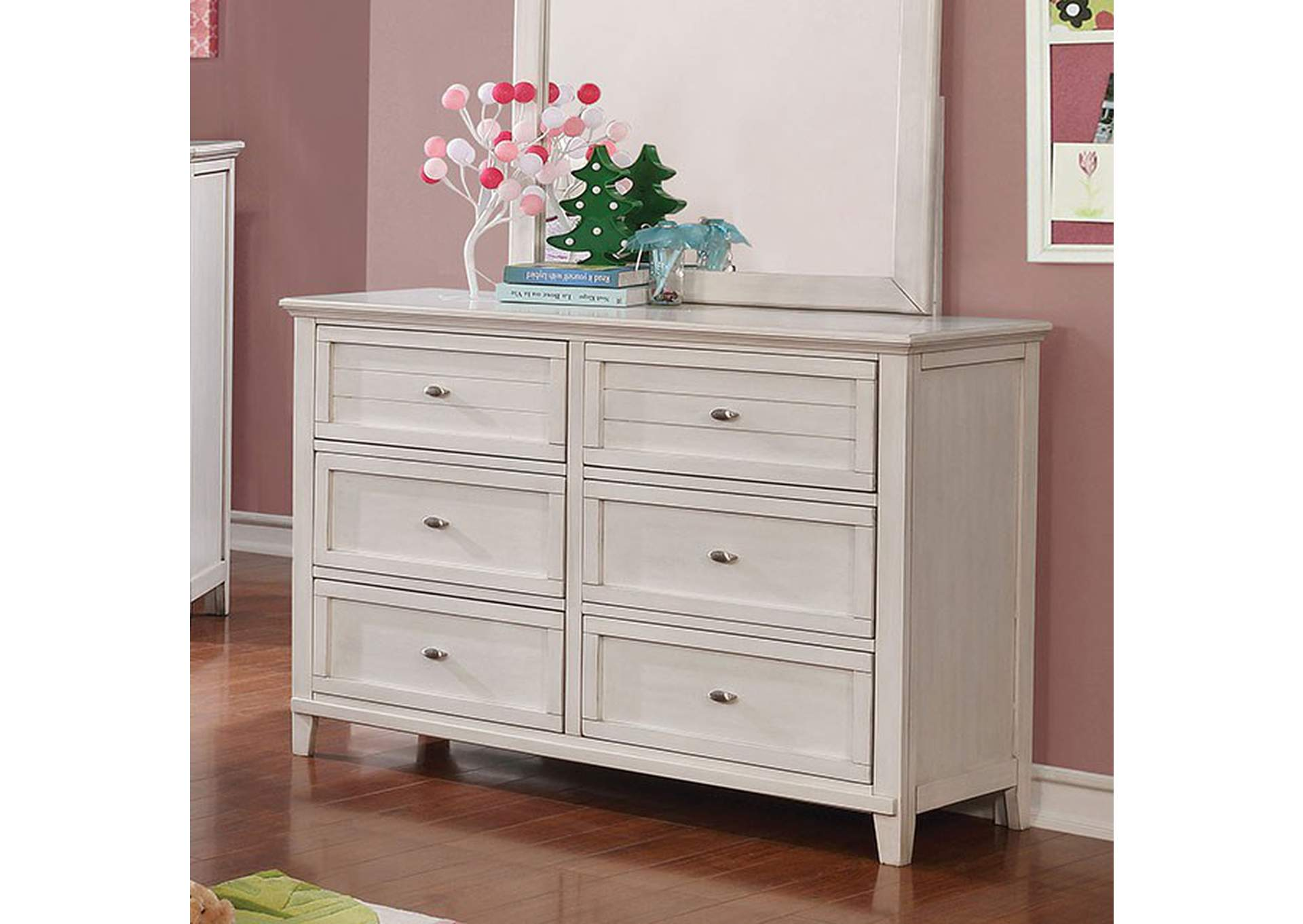 Brogan Antique White Dresser,Furniture of America