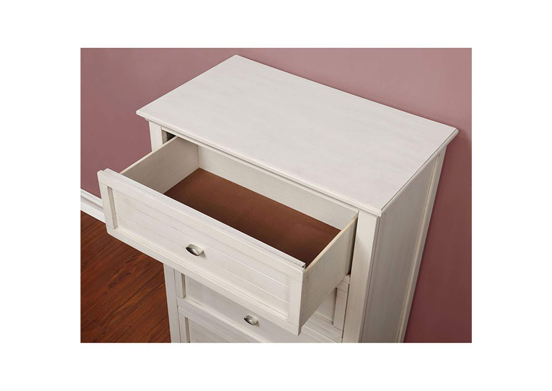 Brogan White Nightstand,Furniture of America