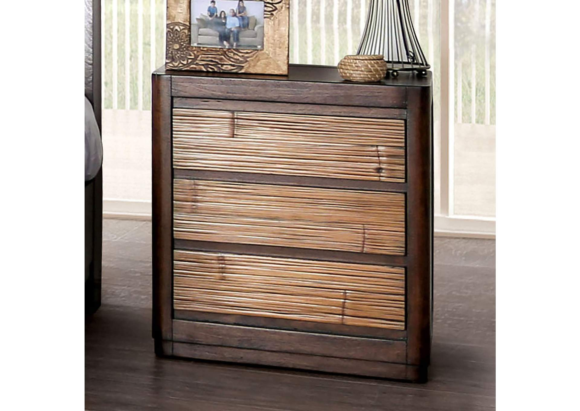 Covilha Brown 3 Drawer Nightstand,Furniture of America