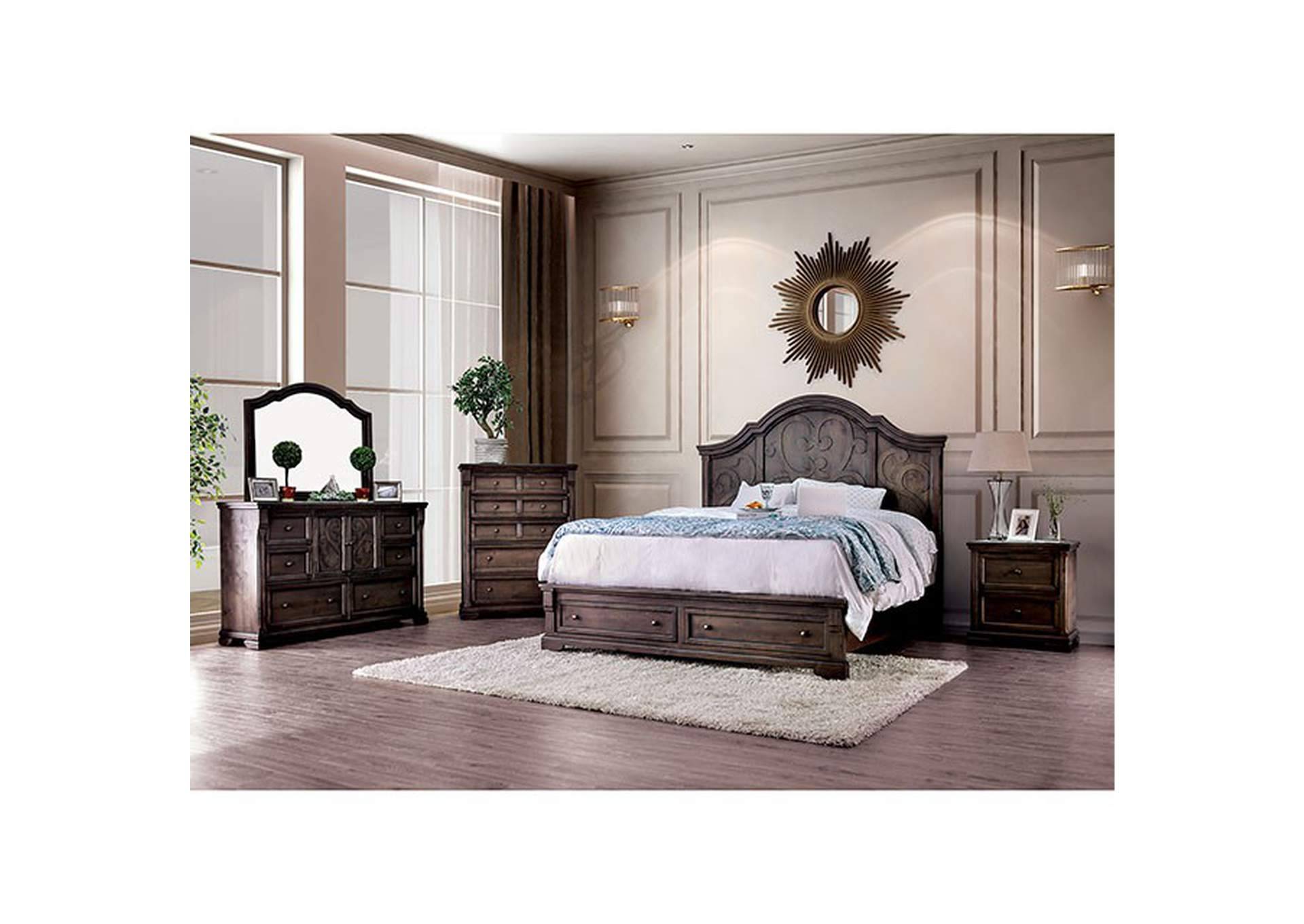 Amadora Walnut Eastern King Bed,Furniture of America