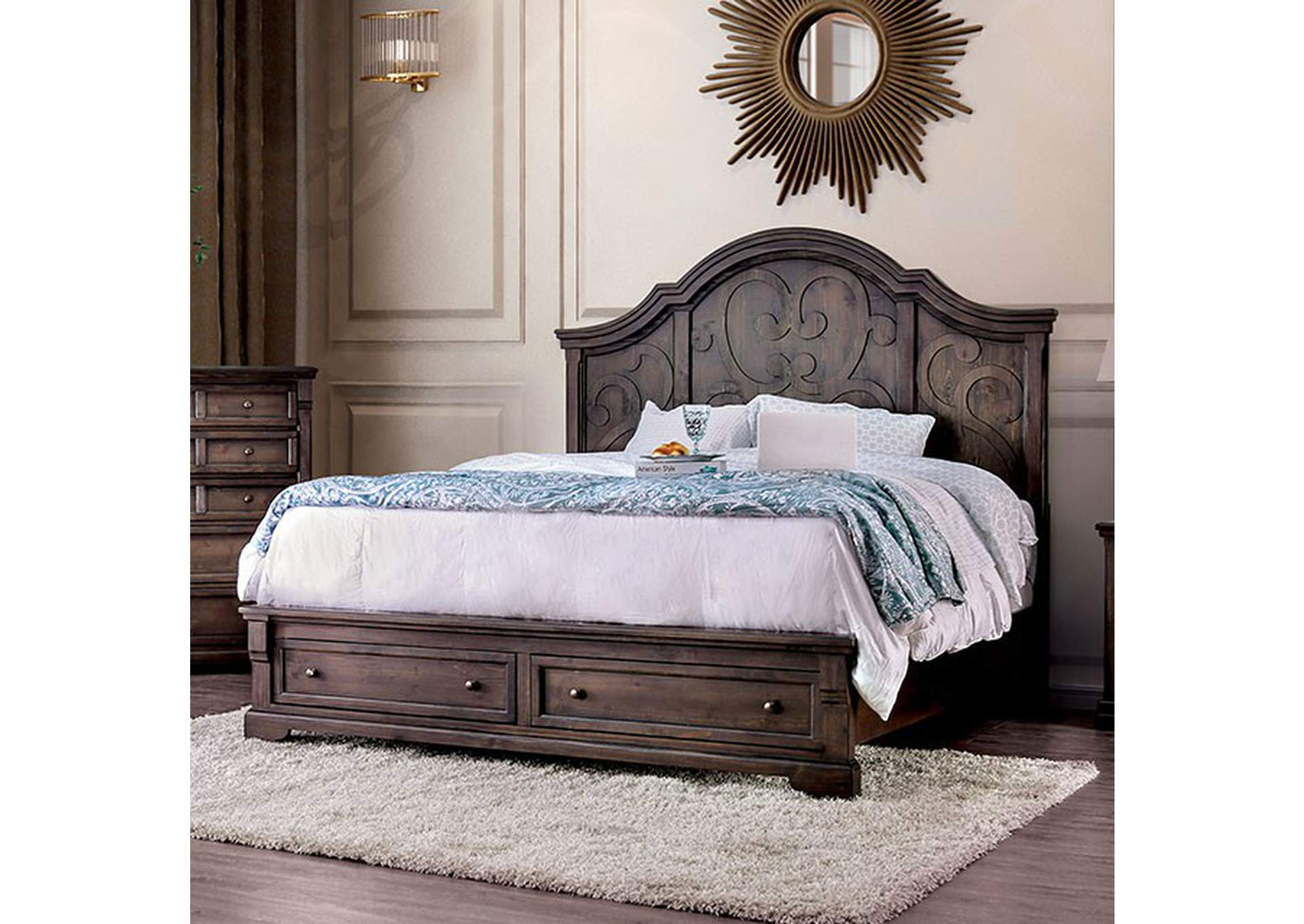 Amadora Walnut California King Bed,Furniture of America