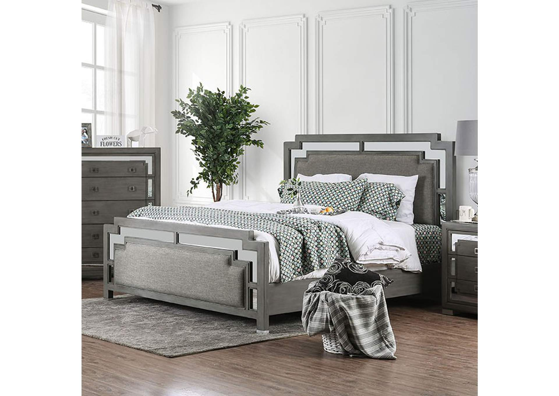 Jeanine Gray California King Bed,Furniture of America