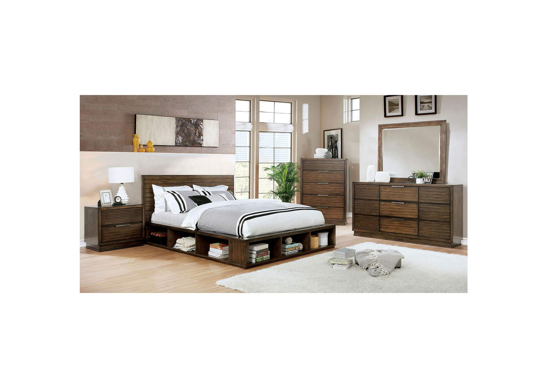 Tolna Brown Eastern King Storage Platform Bed,Furniture of America