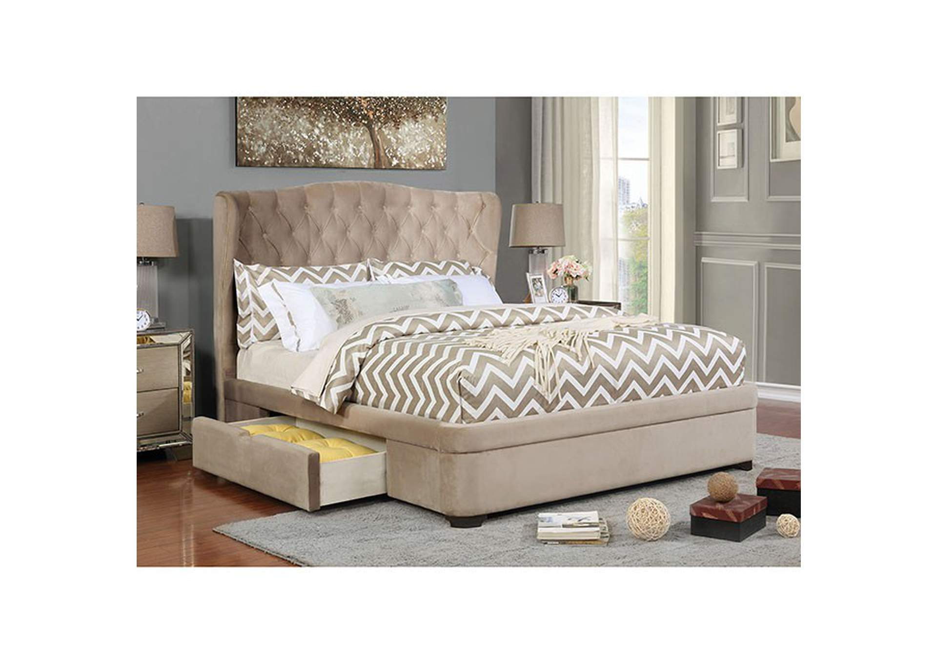 Aoife Upholstered Queen Storage Bed,Furniture of America