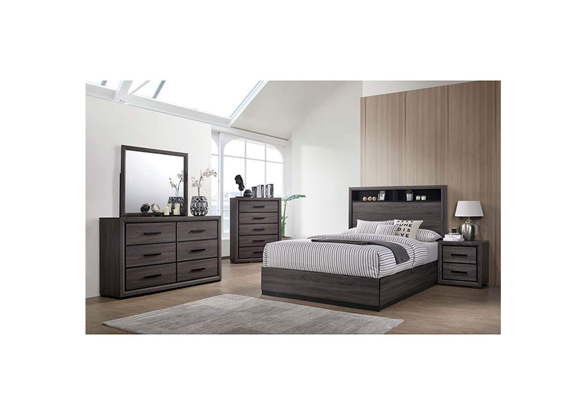Conwy Gray Eastern King Storage Platform Bed,Furniture of America
