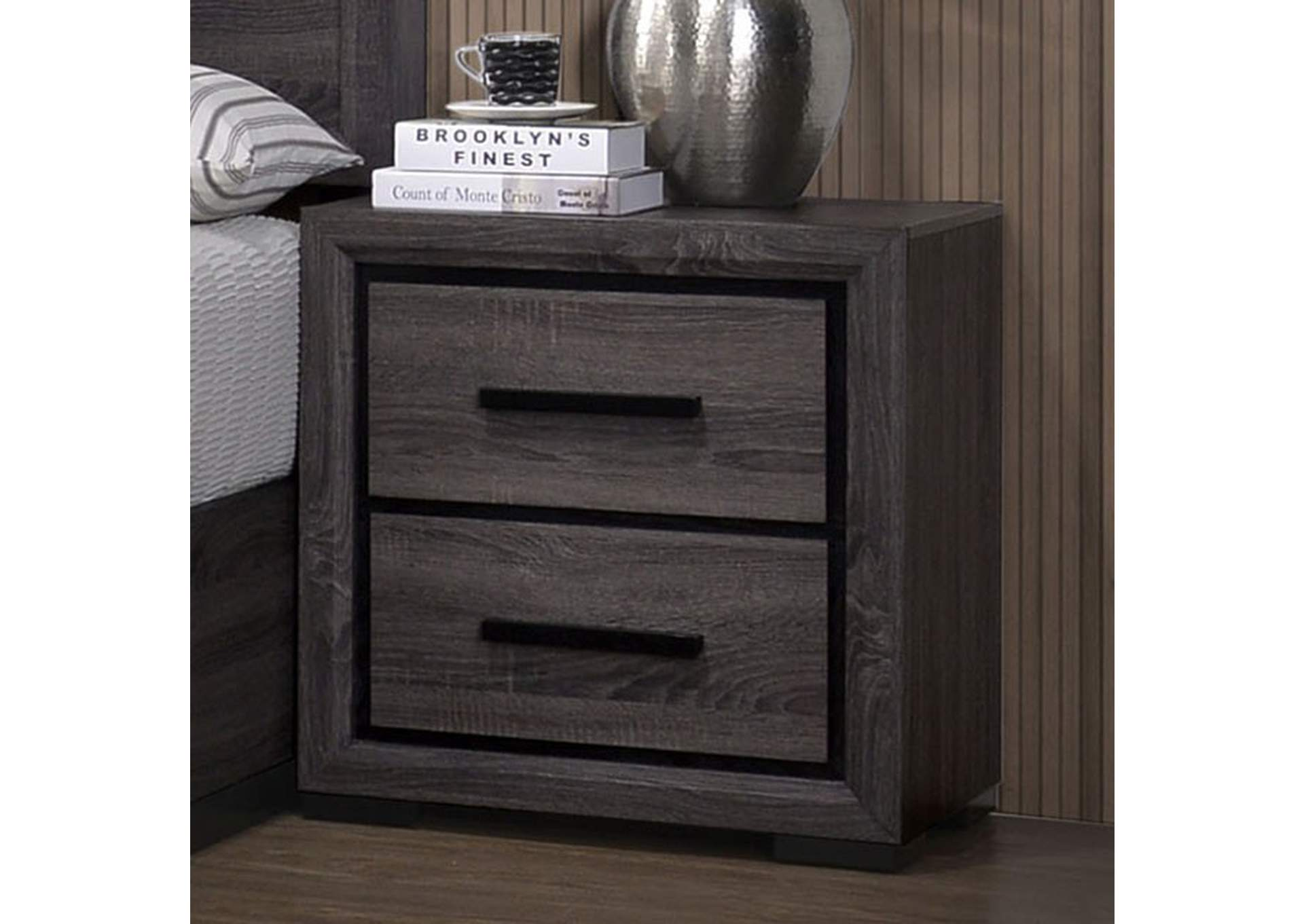 Conwy Gray 2 Drawer Nightstand,Furniture of America