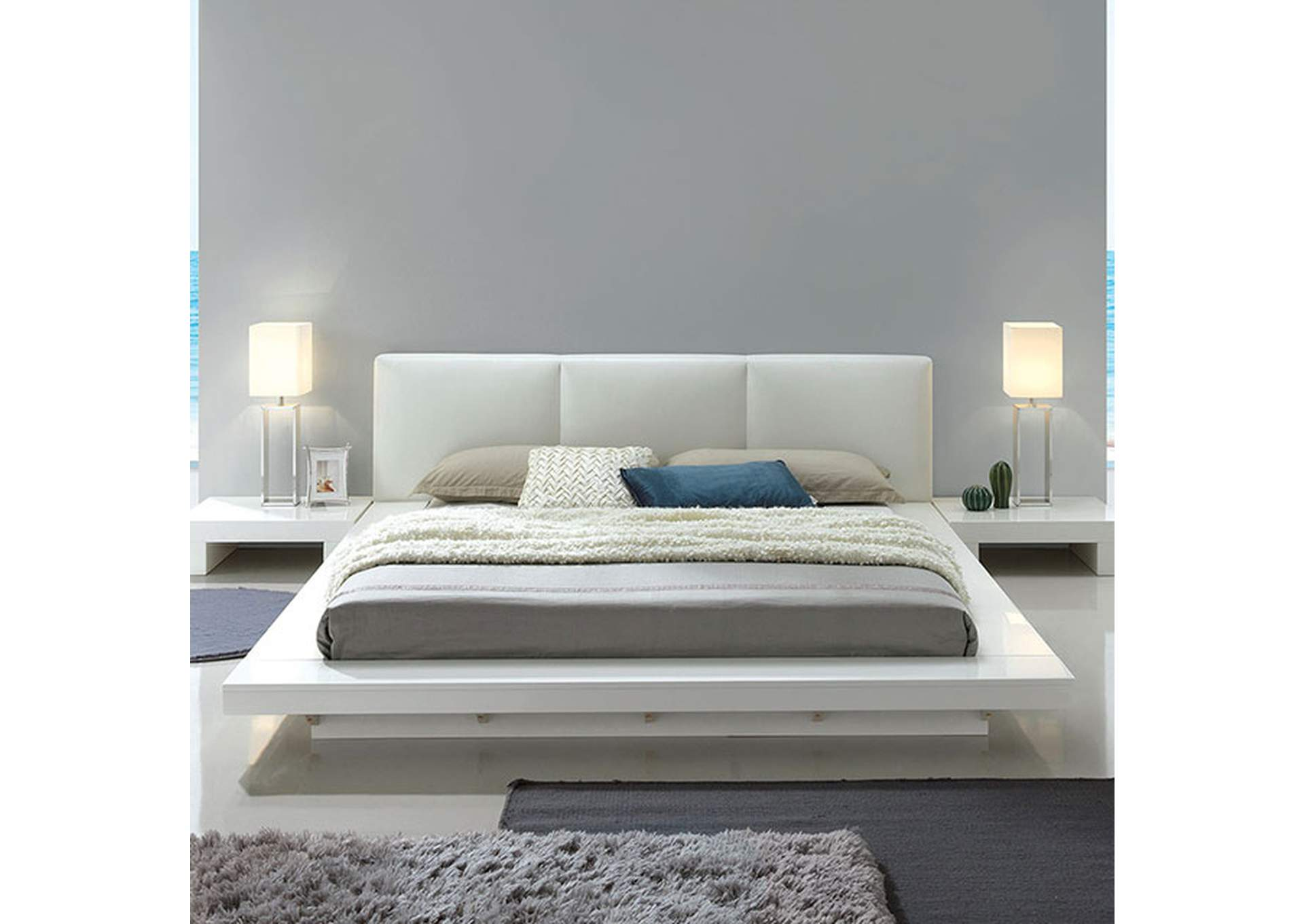 Christie White Queen Low Profile Bed,Furniture of America