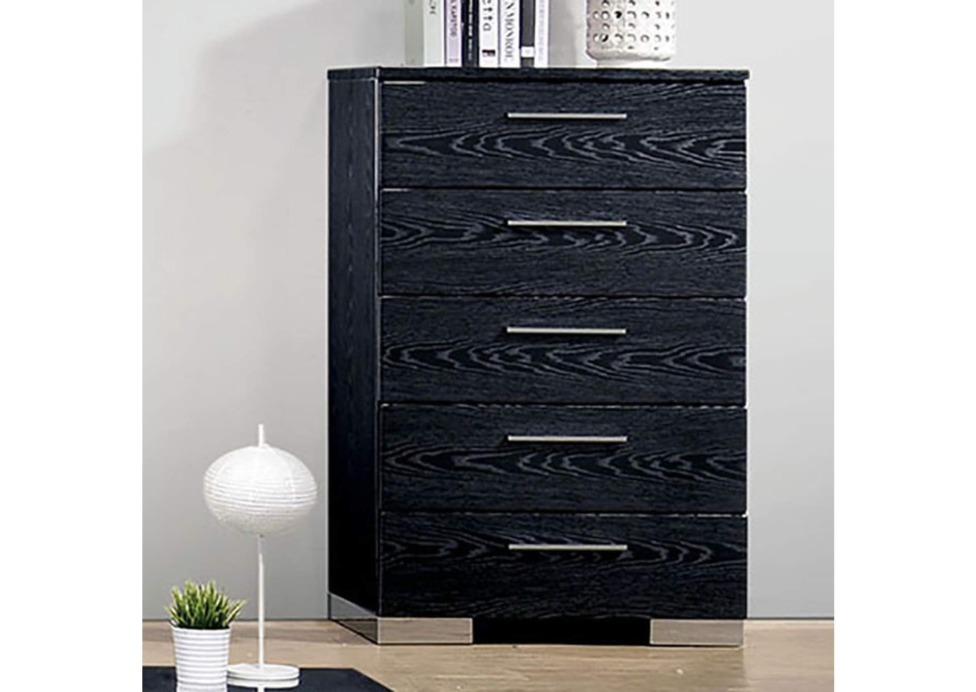 Christie Black Lacquer Chest,Furniture of America