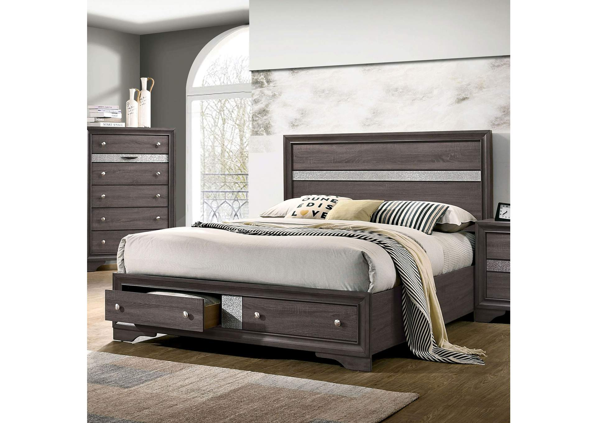 Chrissy Gray Eastern King Bed,Furniture of America