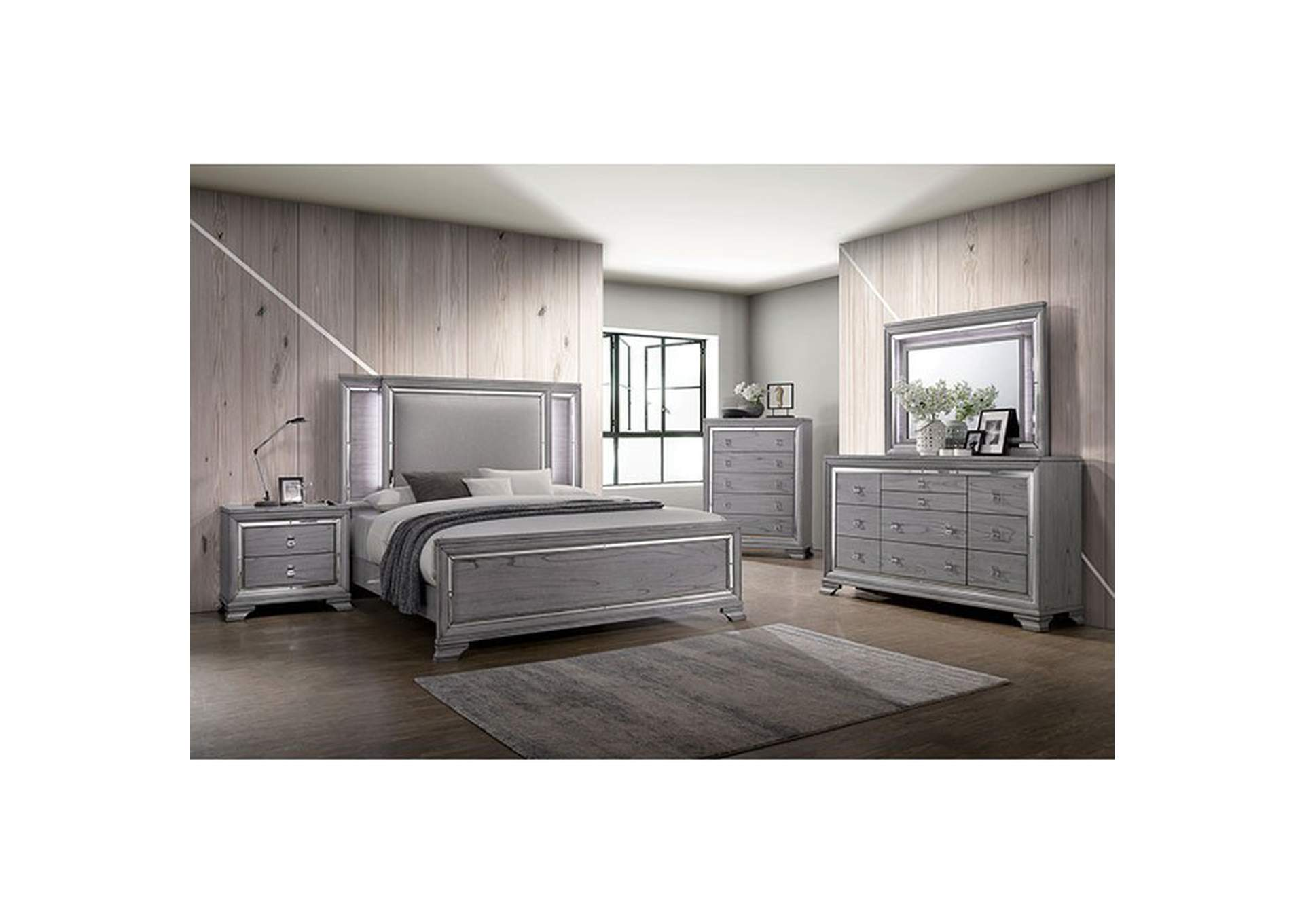 Alanis Light Gray Chest w/Mirror Trim,Furniture of America