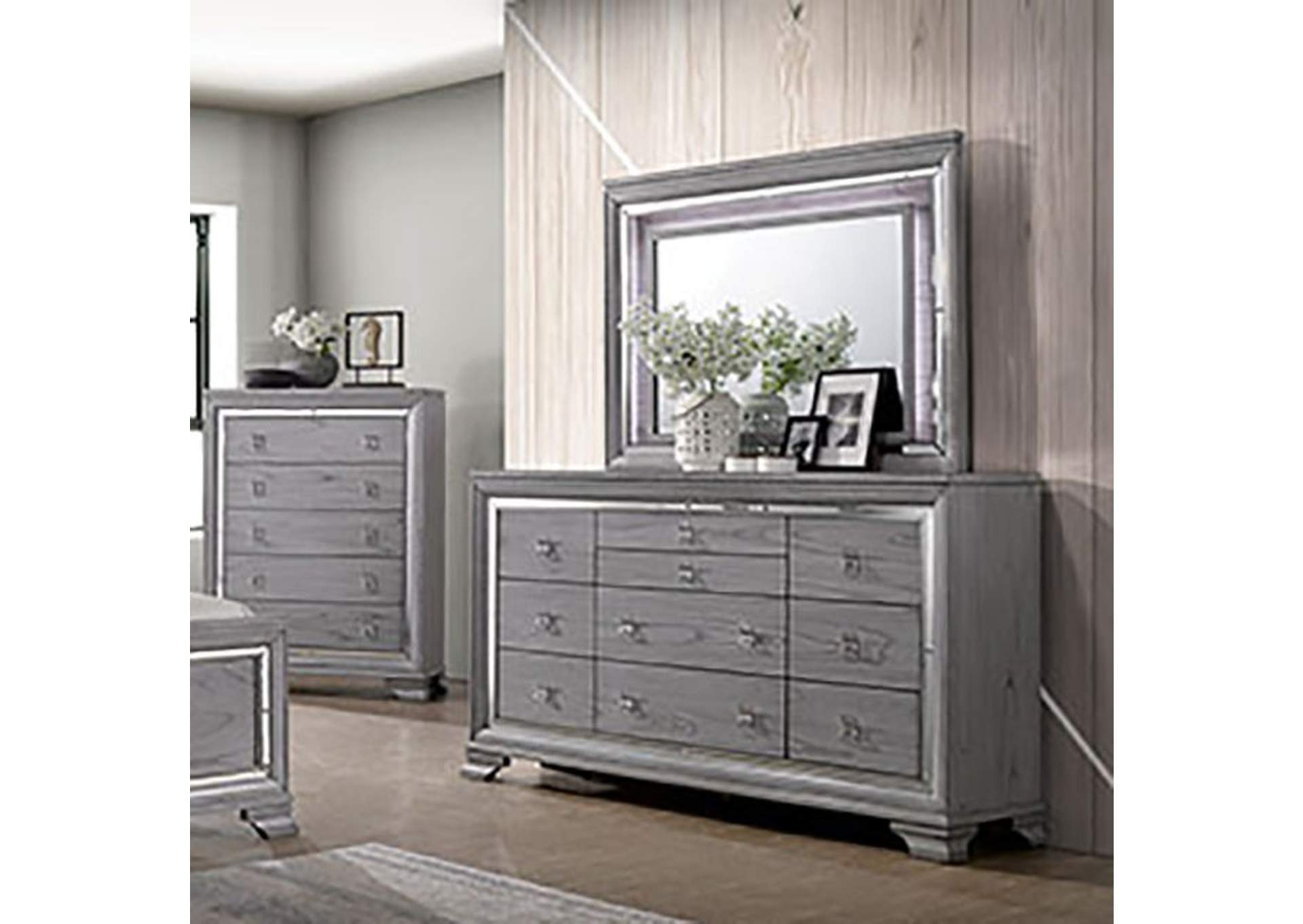 Alanis Light Gray Dresser and Mirror Trim,Furniture of America