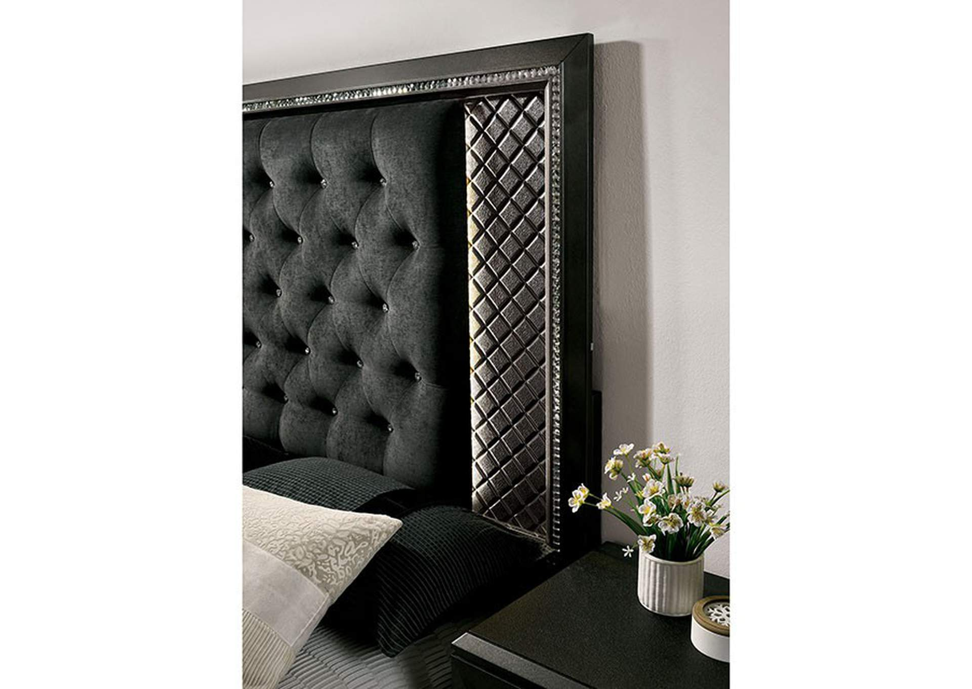 Demetria Black/Metallic Gray California King Panel Bed w/LED Trim,Furniture of America