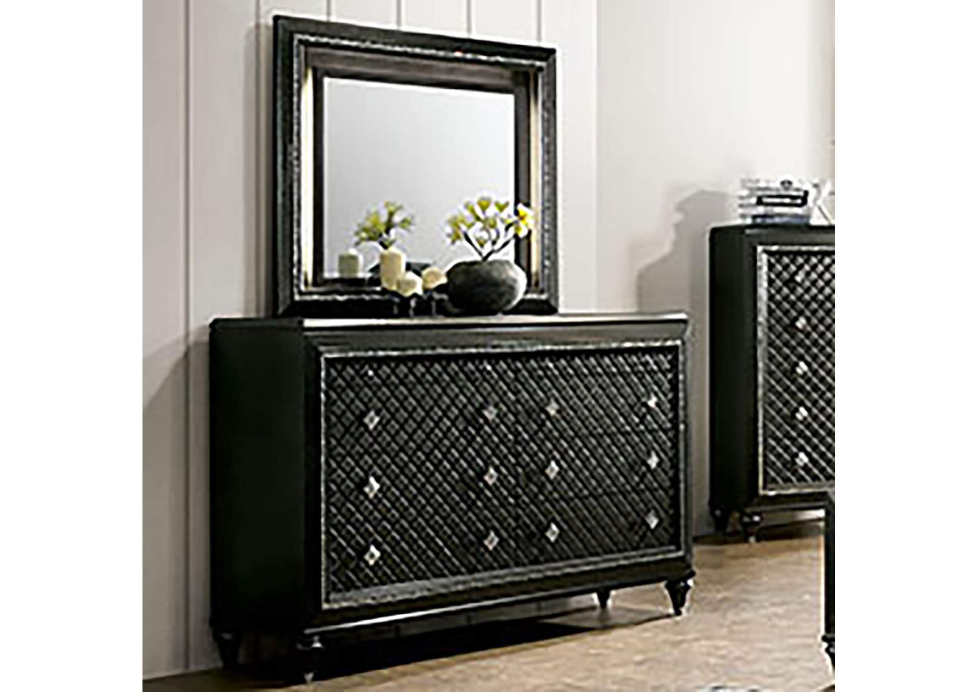 Demetria Black/Metallic Gray Dresser,Furniture of America