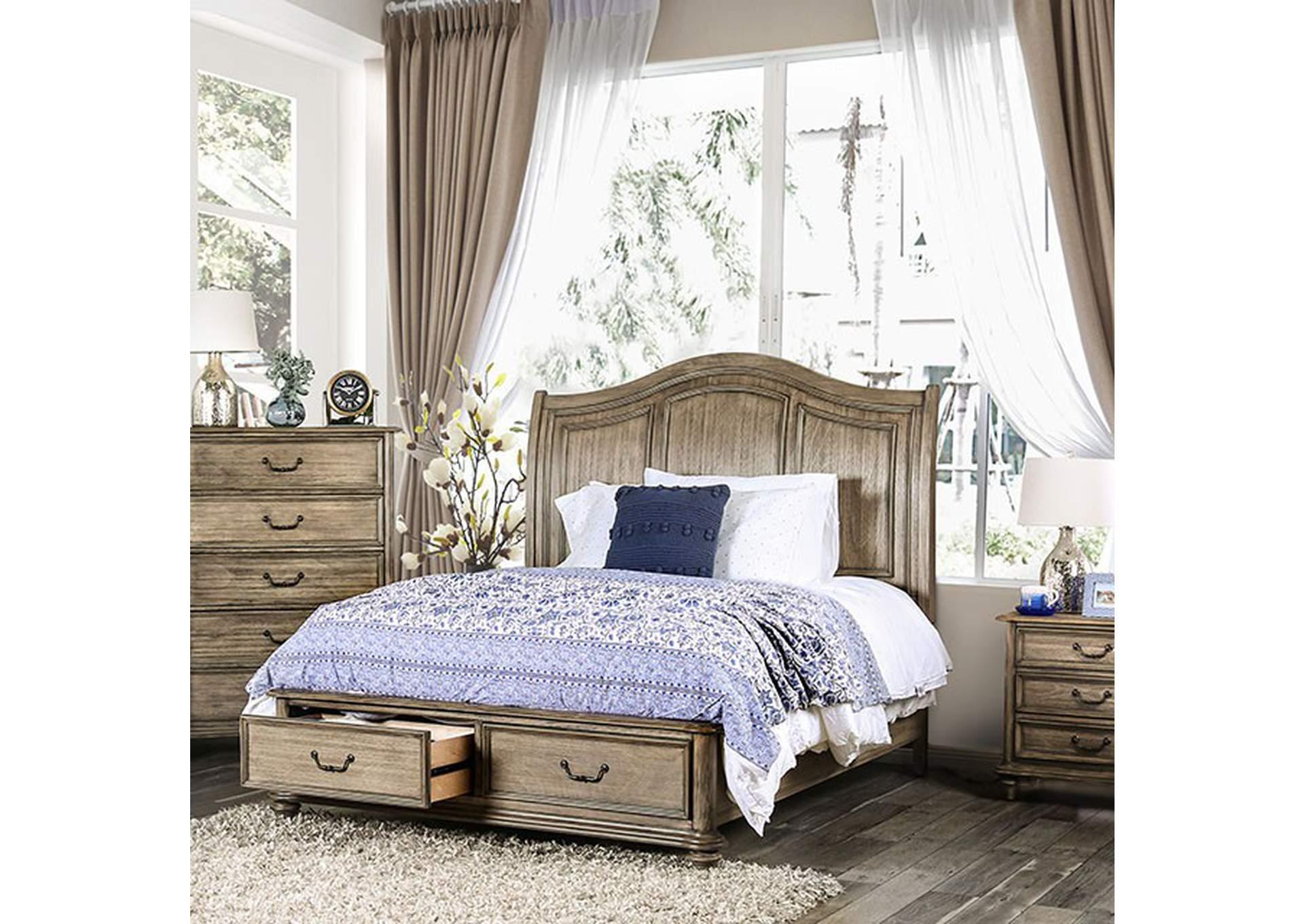Belgrade I Rustic Natural Tone California King Platform Storage Bed Icon Sales And Rentals
