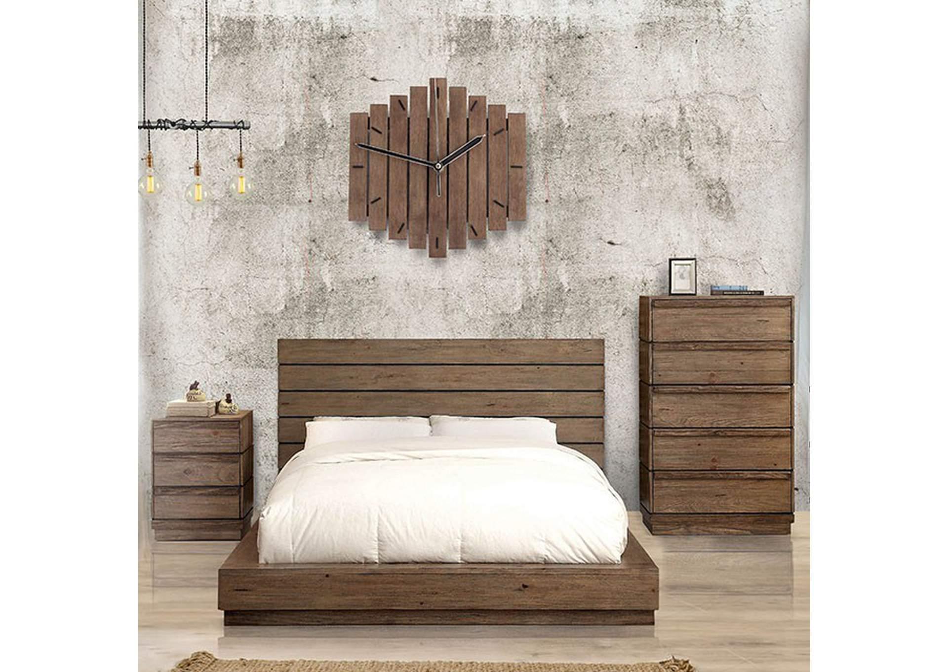 Coimbra Rustic Natural Tone California King Platform Bed Dream Decor Furniture