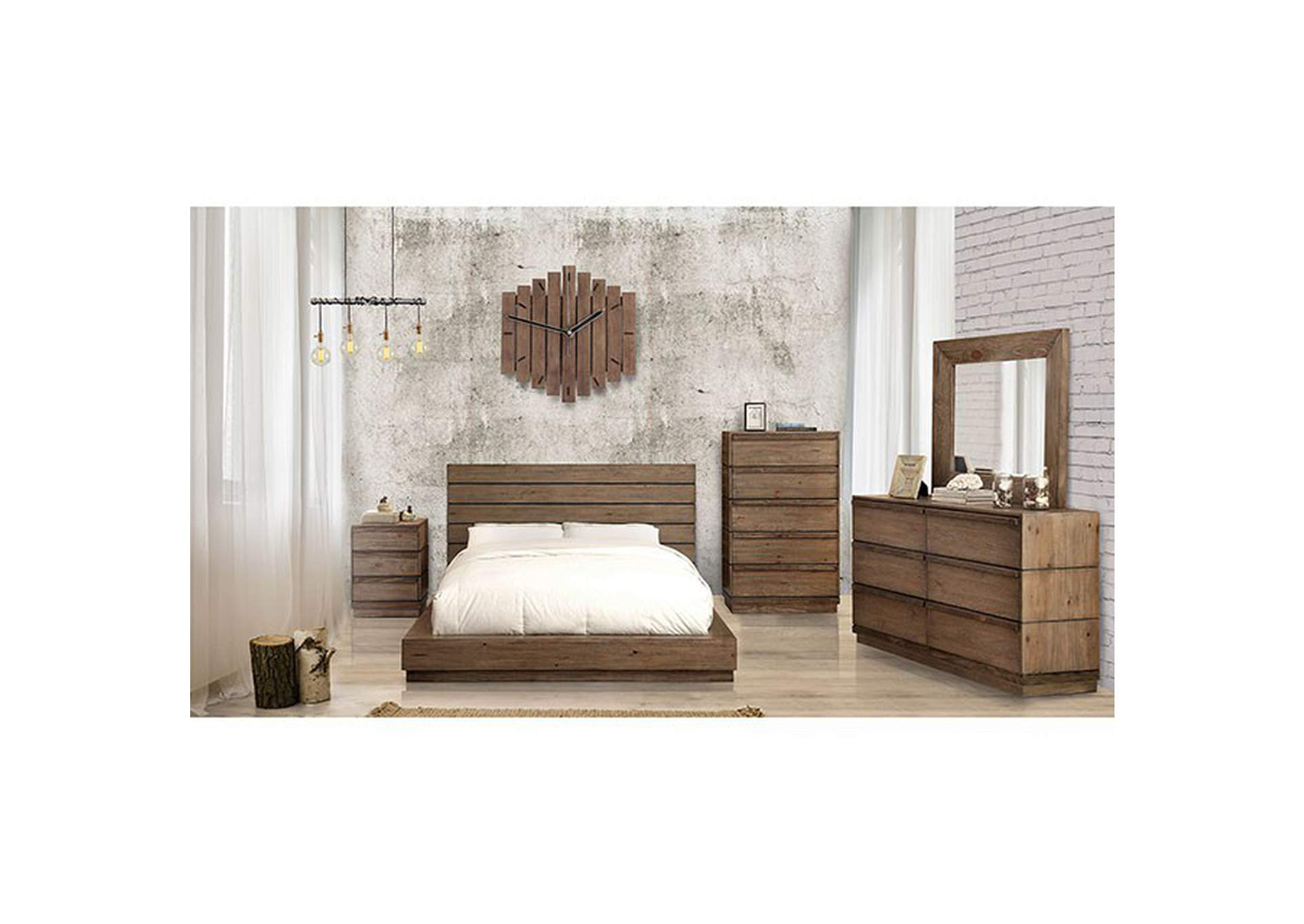 Coimbra Rustic Natural Tone Queen Bed,Furniture of America