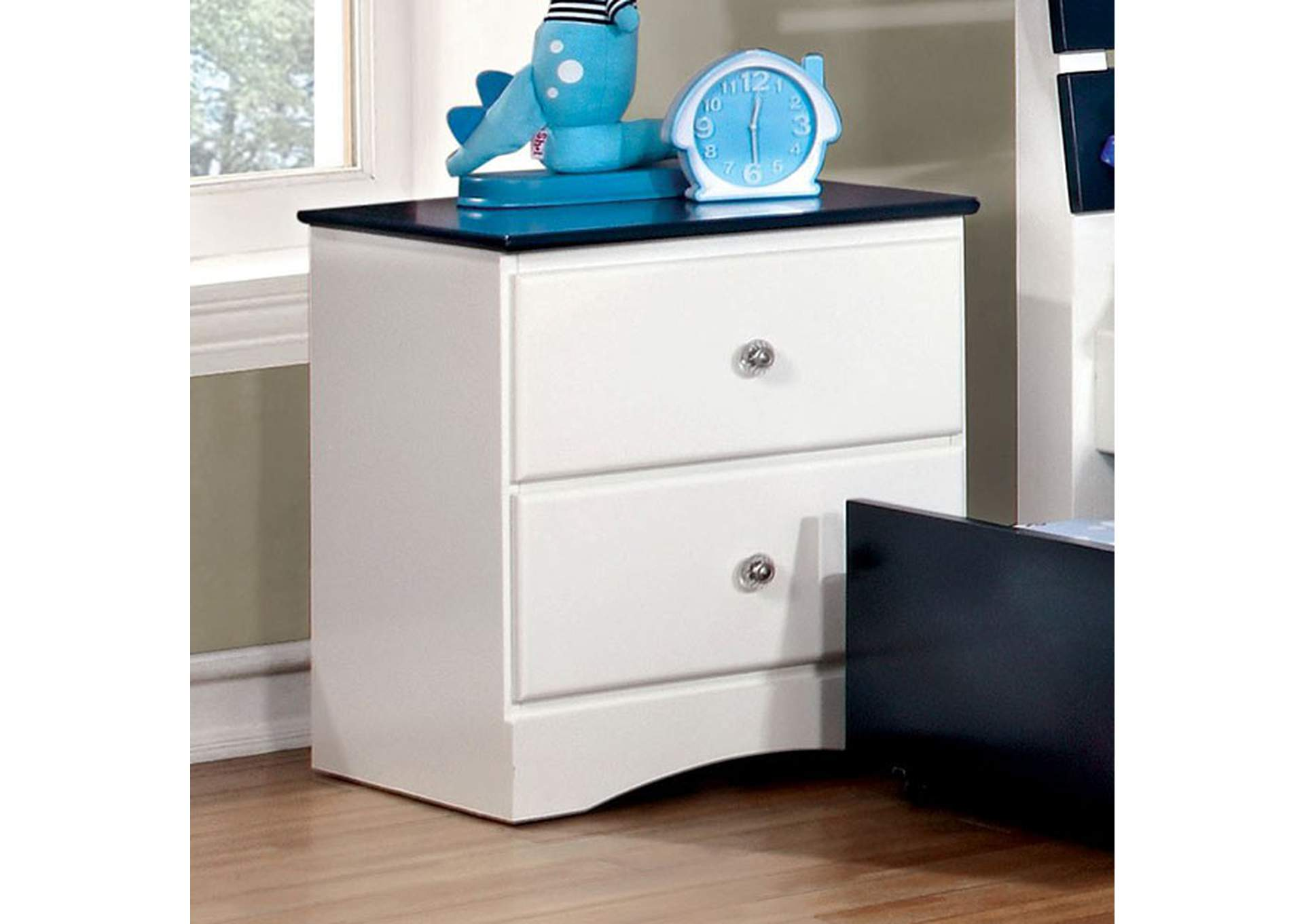 Kimmel Blue & White Nightstand,Furniture of America