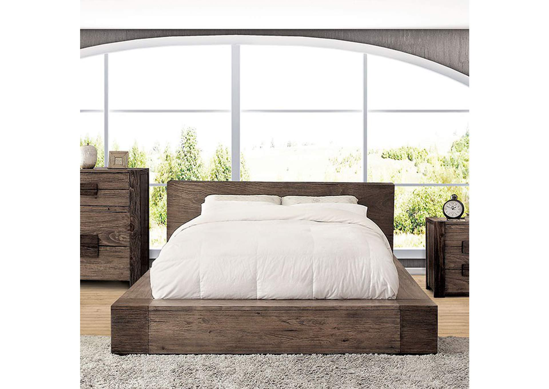 Janeiro Rustic Natural Tone Queen Platform Bed,Furniture of America
