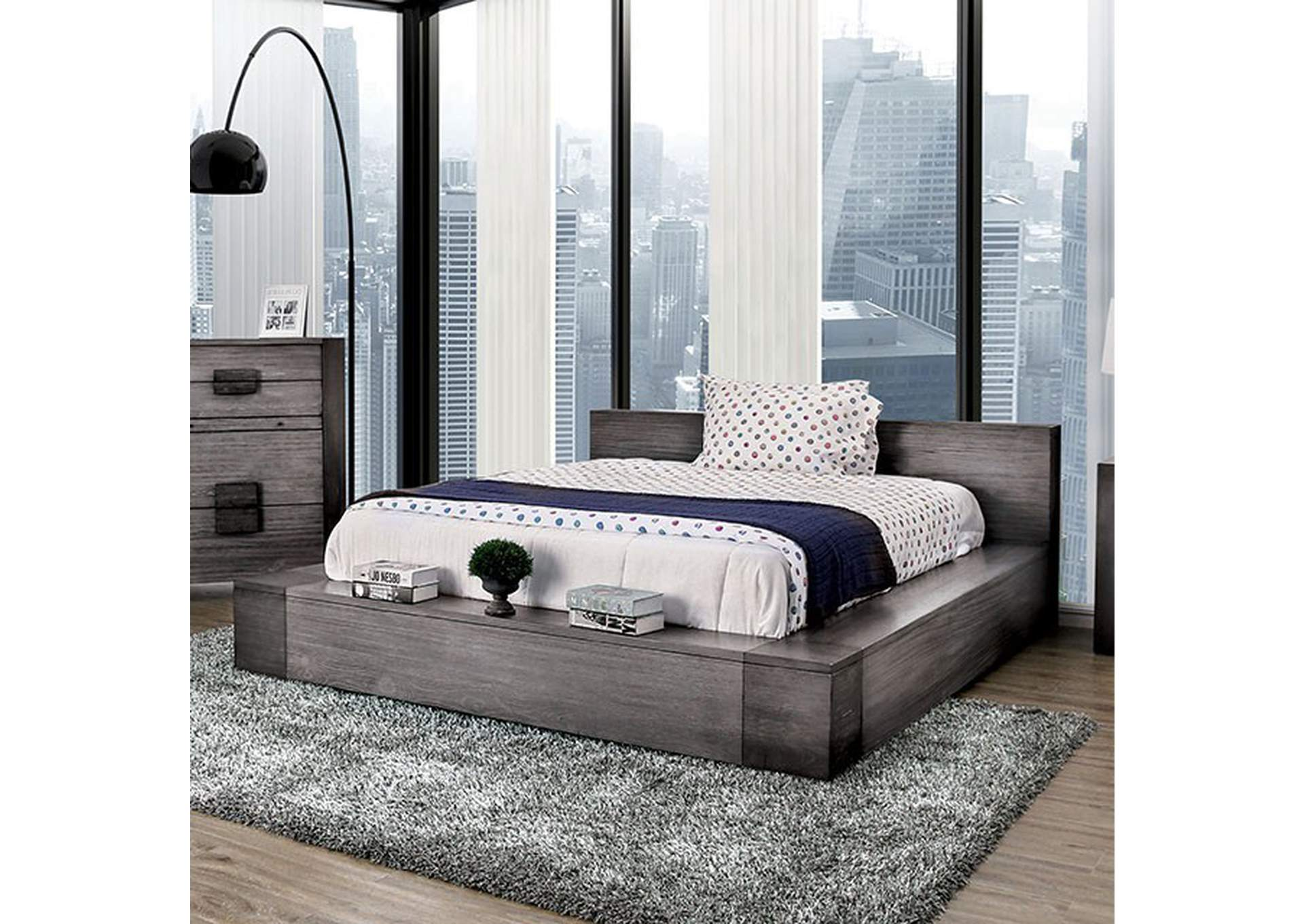 Janeiro Gray California King Platform Bed,Furniture of America