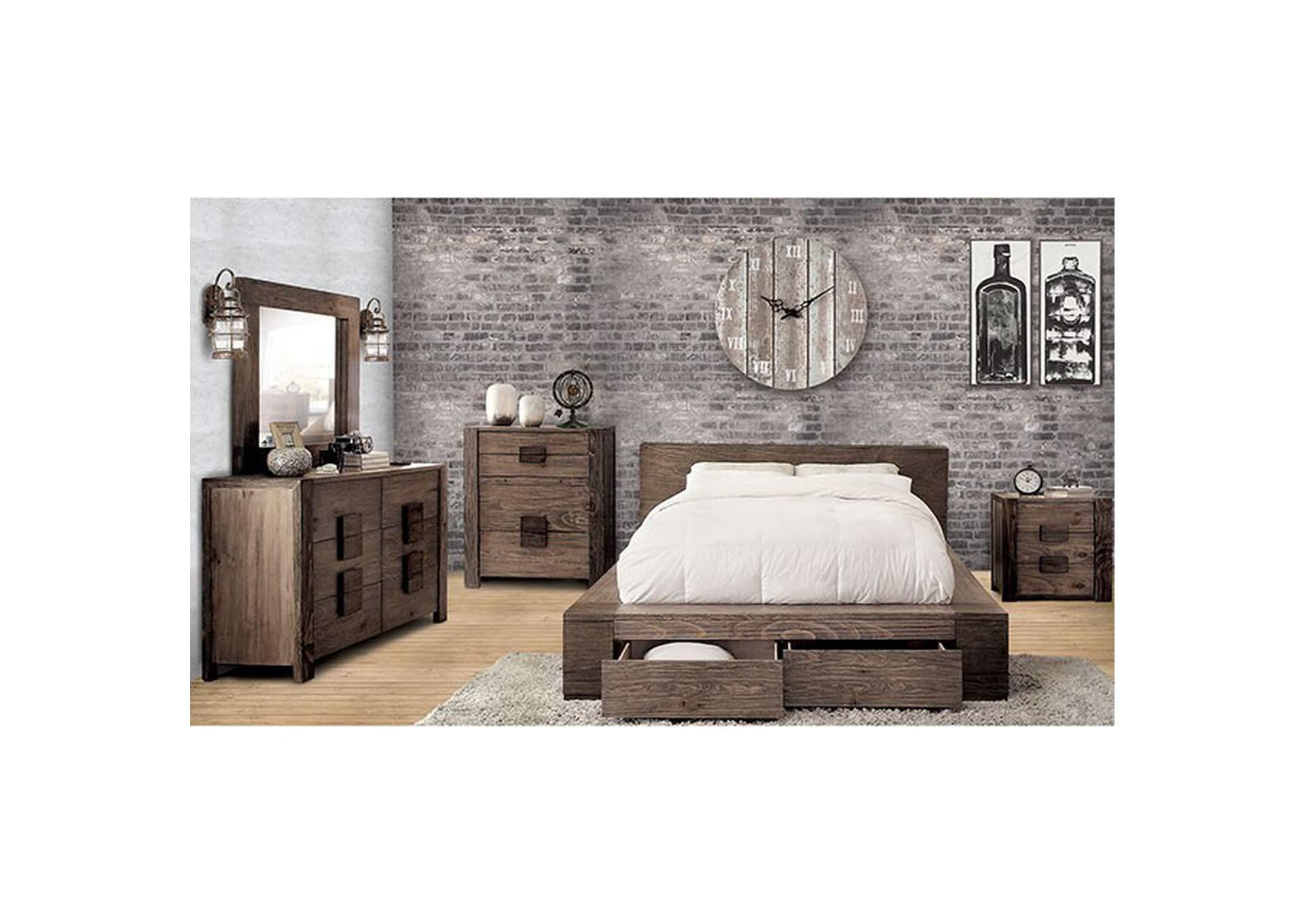 Janeiro Rustic Natural Tone California King Platform Storage Bed Peaceful Living Furniture
