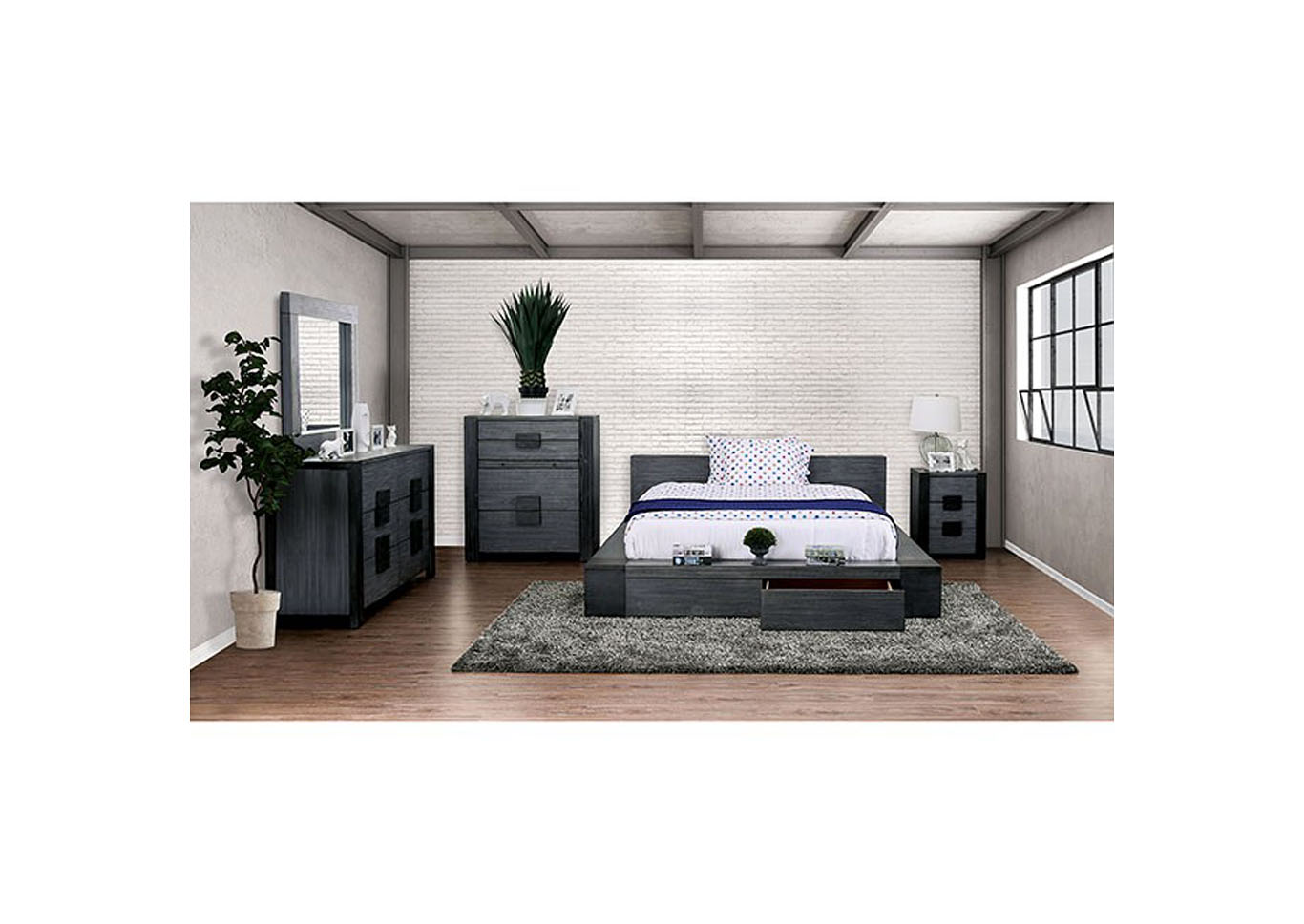 Janeiro Gray California King Bed,Furniture of America