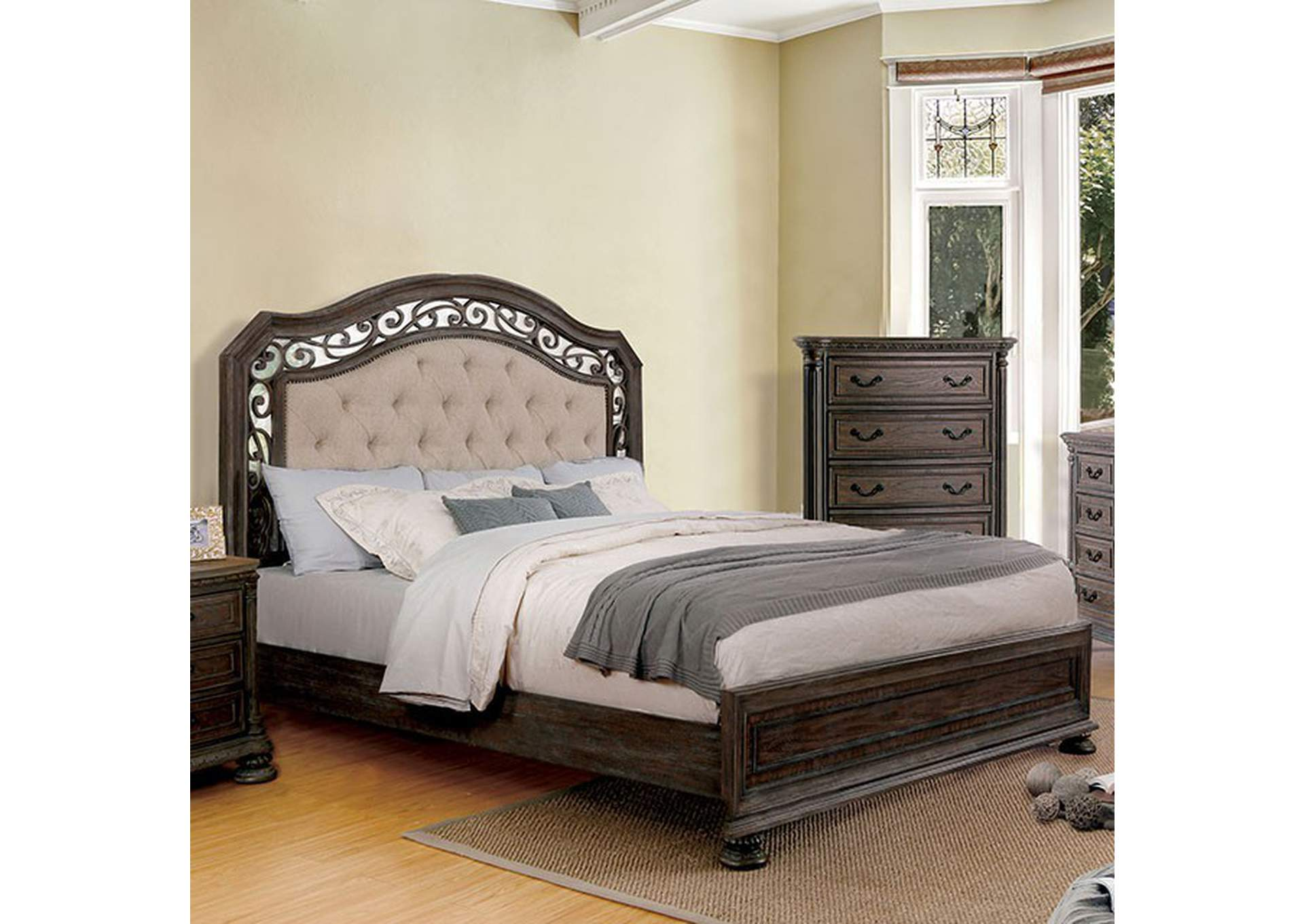 Persephone Rustic Natural Upholstered Platform Queen Bed,Furniture of America