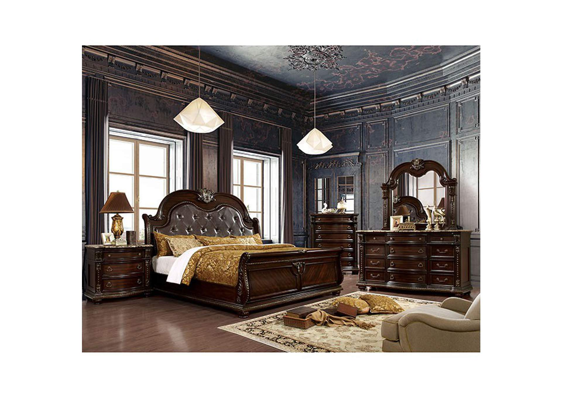 Fromberg Brown Cherry Queen Bed,Furniture of America