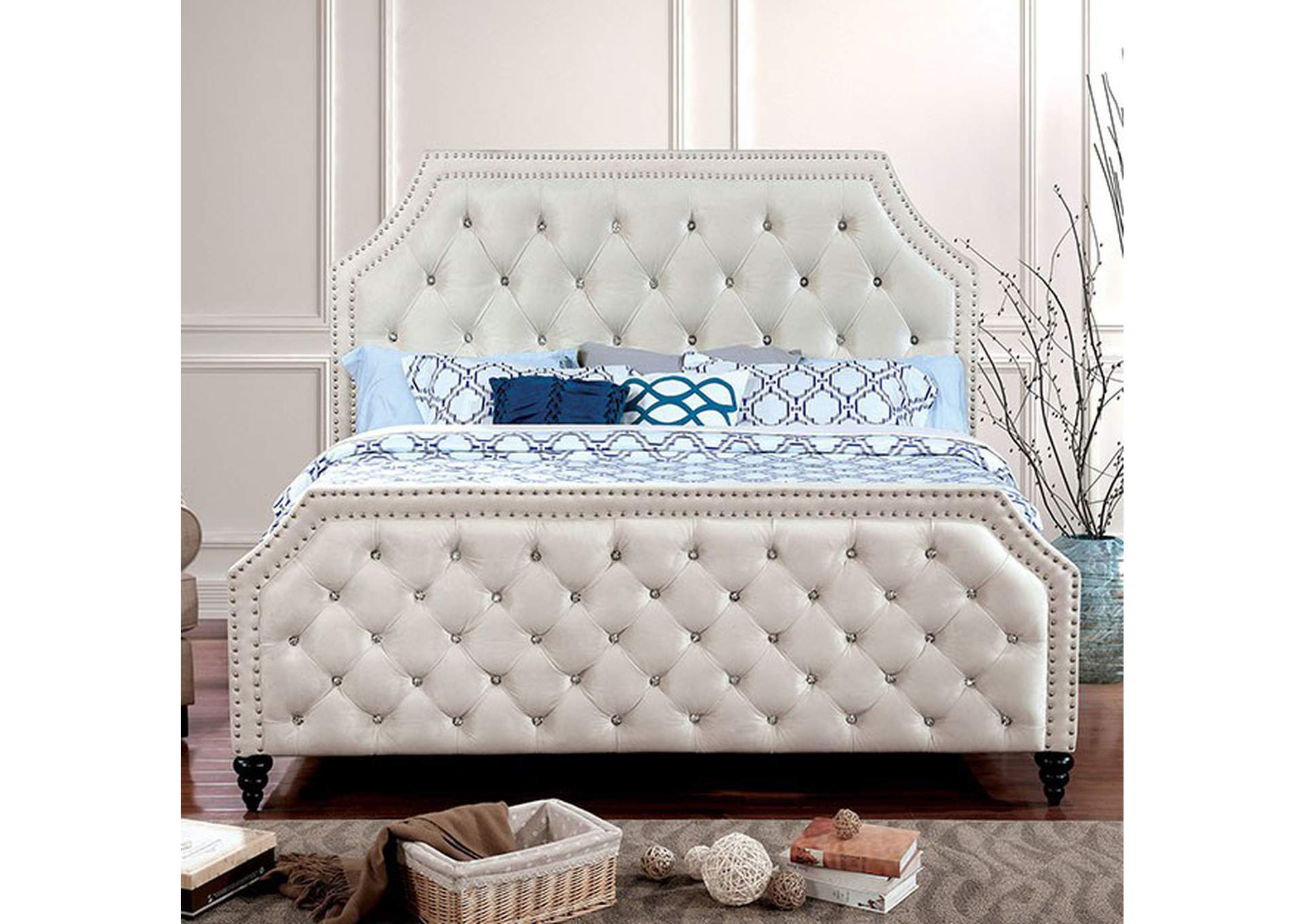 Claudine Beige Queen Bed,Furniture of America