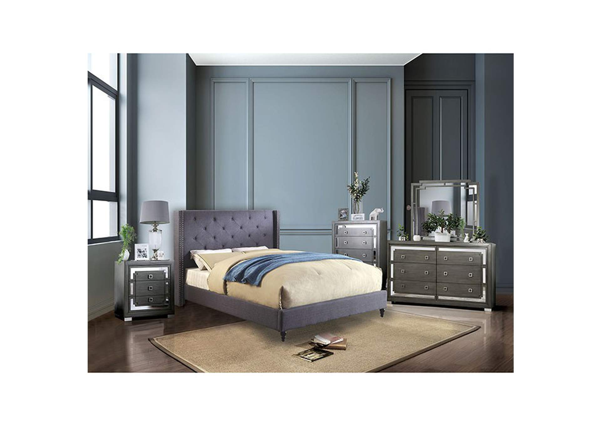 Anabelle Blue Upholstered Queen Platform Bed,Furniture of America