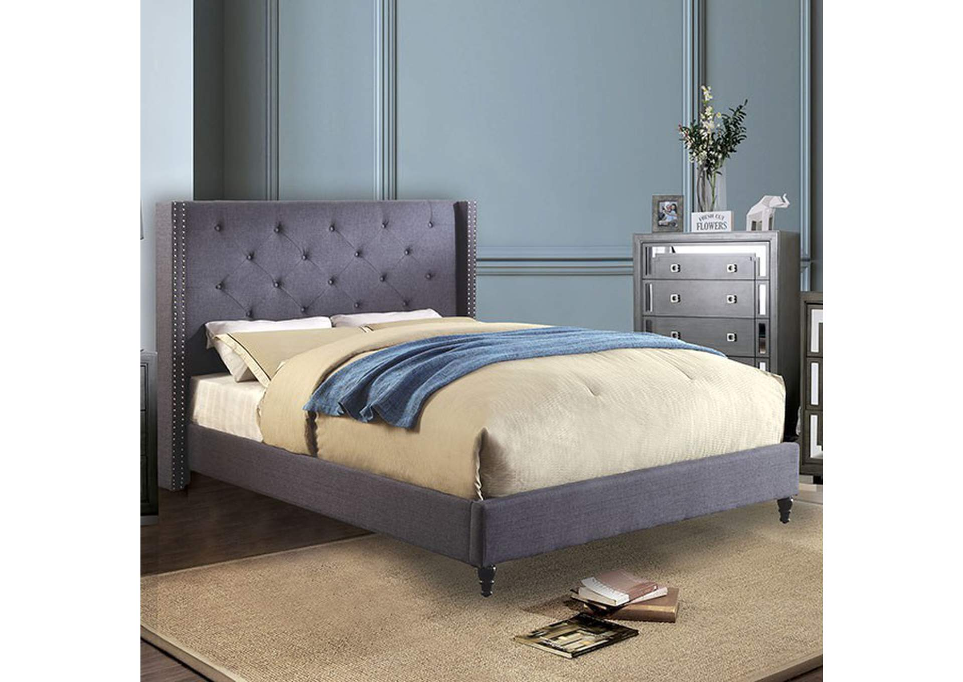 Anabelle Blue Eastern King Bed,Furniture of America