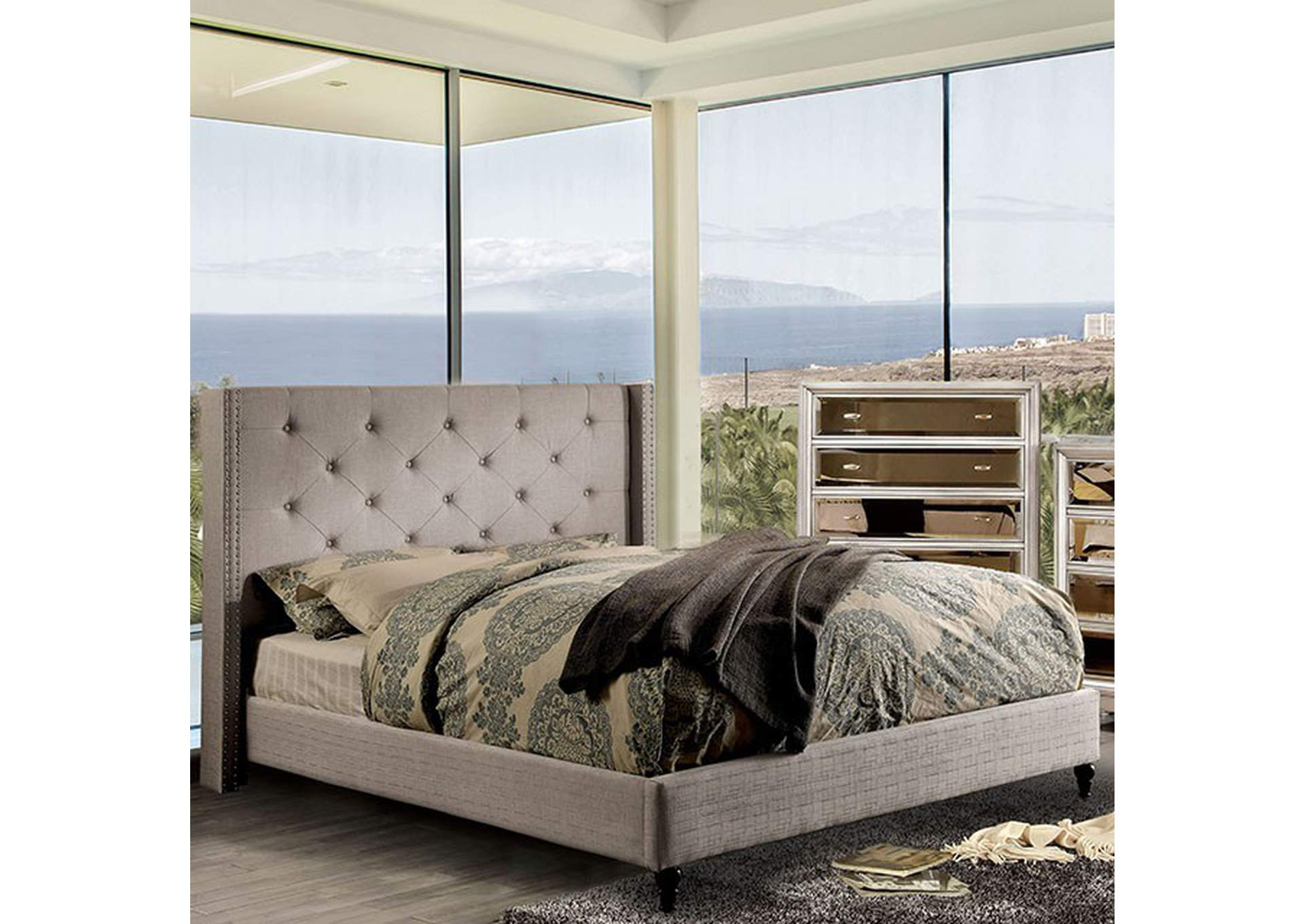 Anabelle Warm Gray Queen Bed,Furniture of America