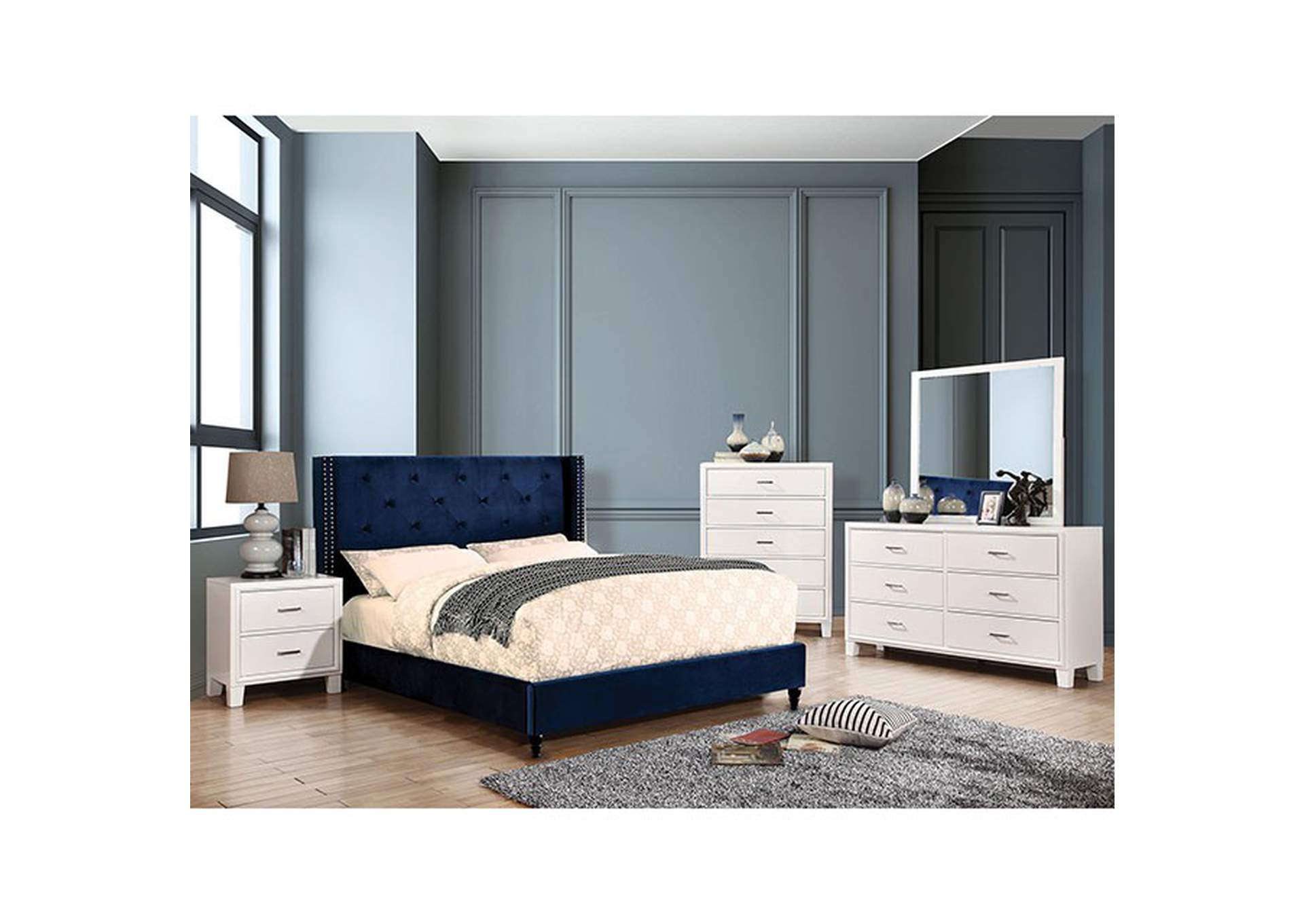 Anabelle Navy Queen Bed,Furniture of America