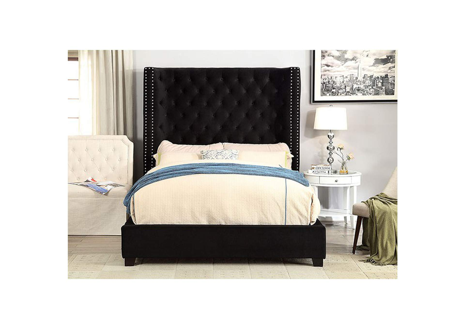 Mirabelle Black Upholstered California Bed,Furniture of America