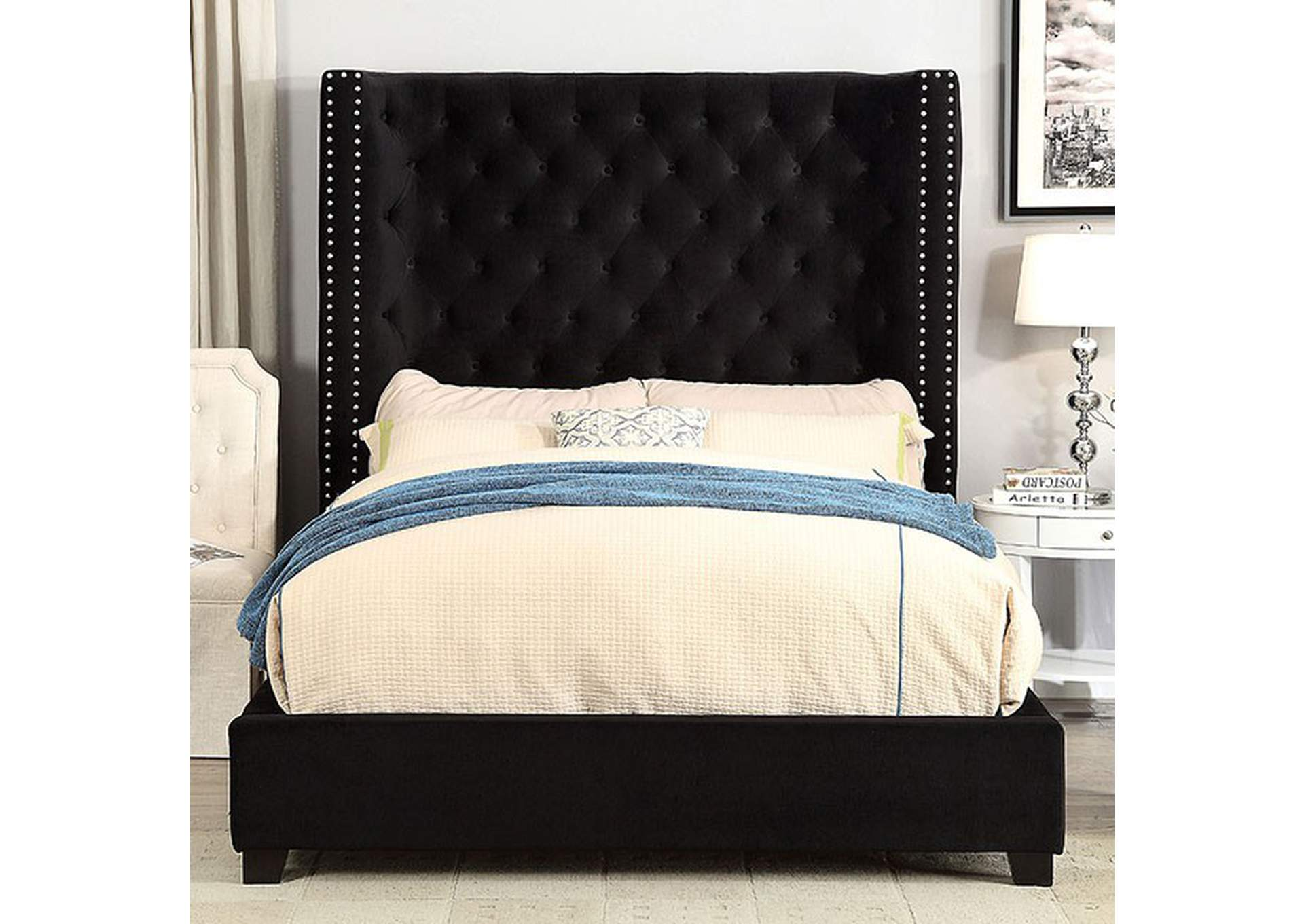 Mirabelle Black Upholstered Eastern Bed,Furniture of America