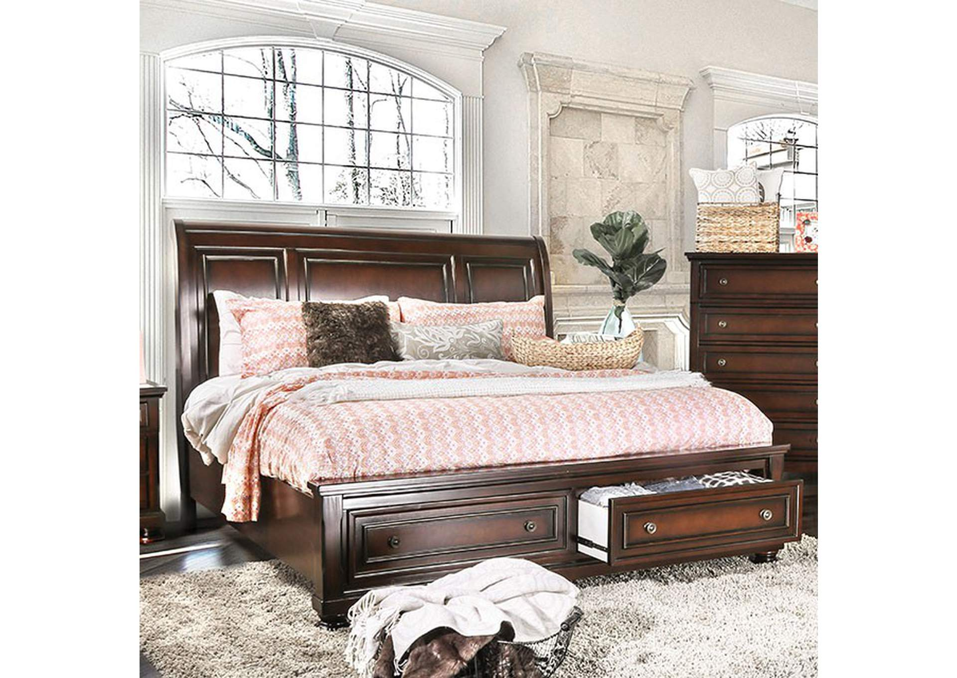 Northville Dark Cherry Queen Storage Platform Bed,Furniture of America