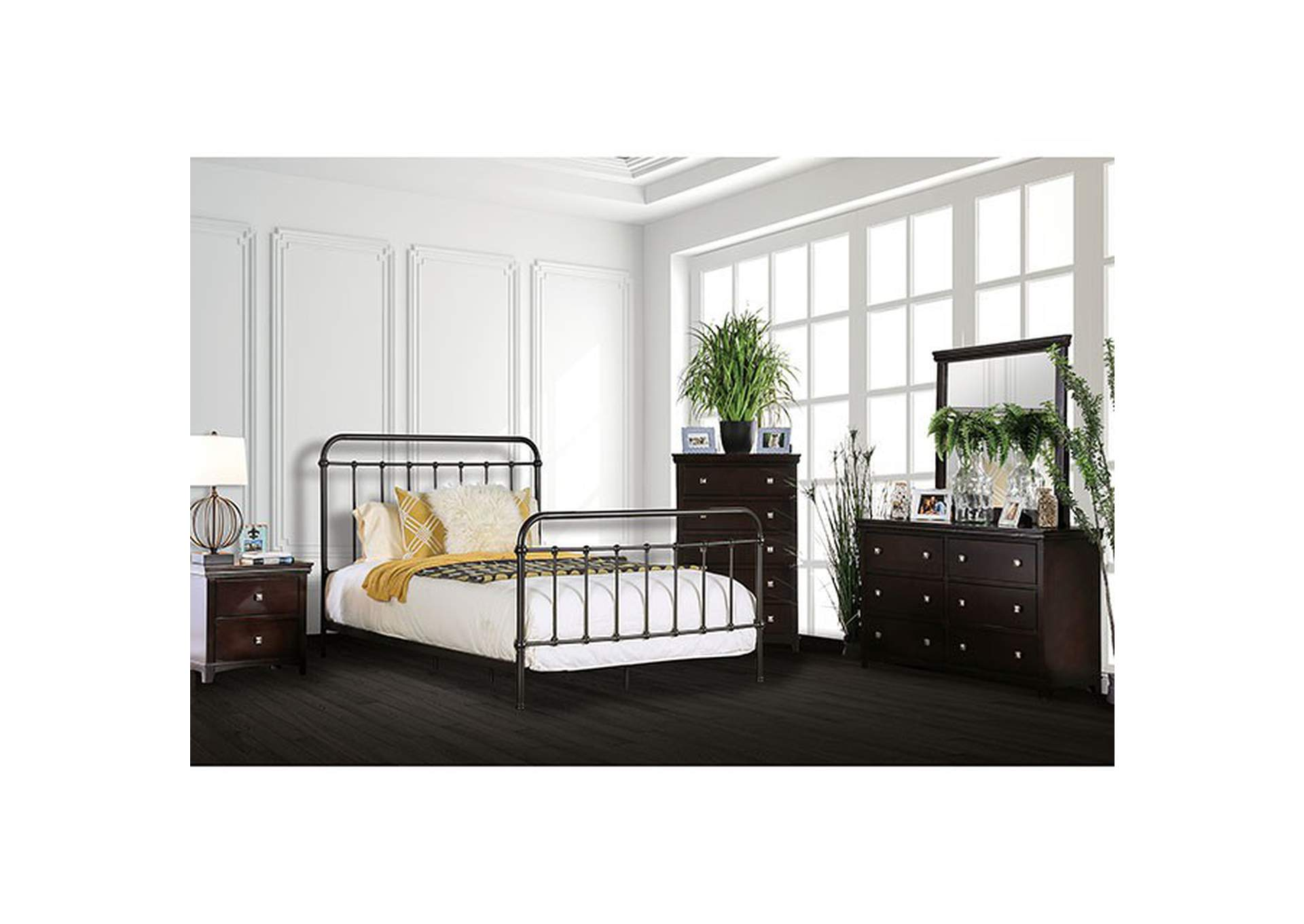 Iria Dark Bronze Queen Platform Bed,Furniture of America