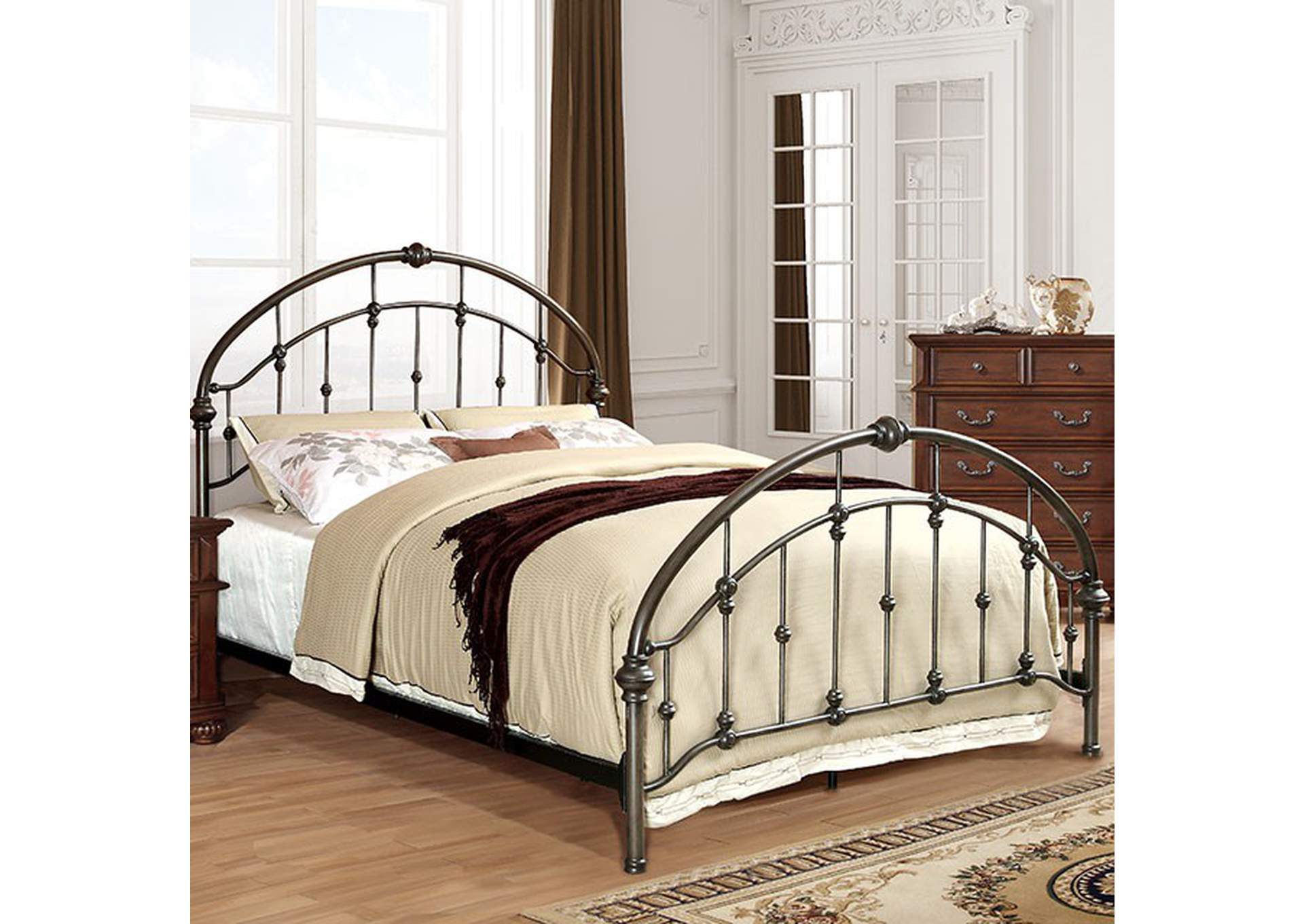 Carta Brushed Bronze Metal Queen Platform Bed,Furniture of America